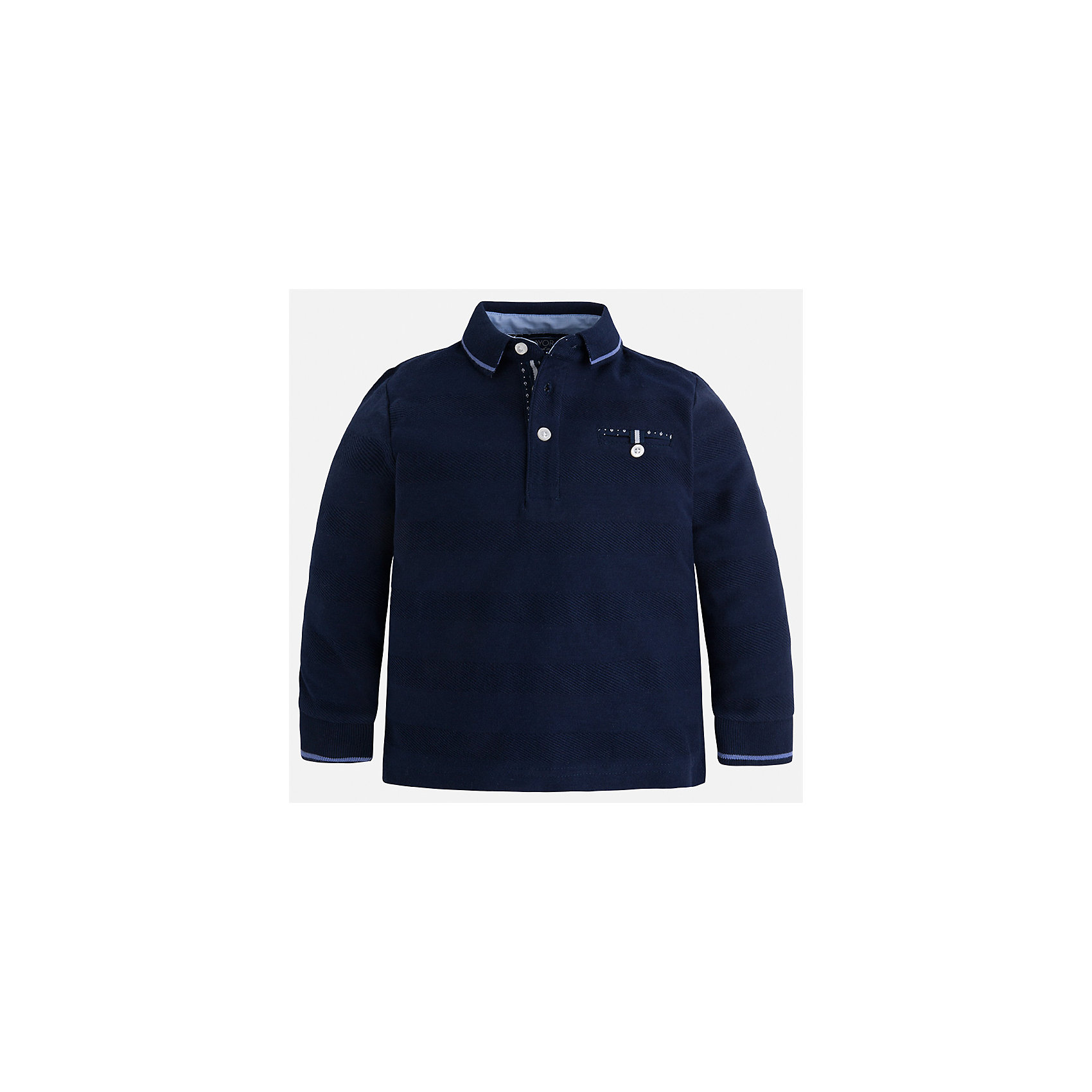 Футболка-поло с длинным рукавом для мальчика MayoralФутболки с длинным рукавом<br>Характеристики товара:<br><br>• цвет: тёмно-синий<br>• состав: 100% хлопок<br>• отложной воротник<br>• длинные рукава<br>• застежка: пуговицы<br>• карман на груди<br>• страна бренда: Испания<br><br>Стильная рубашка-поло для мальчика может стать базовой вещью в гардеробе ребенка. Она отлично сочетается с брюками, шортами, джинсами и т.д. Универсальный крой и цвет позволяет подобрать к вещи низ разных расцветок. Практичное и стильное изделие! В составе материала - только натуральный хлопок, гипоаллергенный, приятный на ощупь, дышащий.<br><br>Одежда, обувь и аксессуары от испанского бренда Mayoral полюбились детям и взрослым по всему миру. Модели этой марки - стильные и удобные. Для их производства используются только безопасные, качественные материалы и фурнитура. Порадуйте ребенка модными и красивыми вещами от Mayoral! <br><br>Рубашку-поло для мальчика от испанского бренда Mayoral (Майорал) можно купить в нашем интернет-магазине.<br><br>Ширина мм: 230<br>Глубина мм: 40<br>Высота мм: 220<br>Вес г: 250<br>Цвет: синий<br>Возраст от месяцев: 18<br>Возраст до месяцев: 24<br>Пол: Мужской<br>Возраст: Детский<br>Размер: 92,110,128,134,122,116,104,98<br>SKU: 5272126