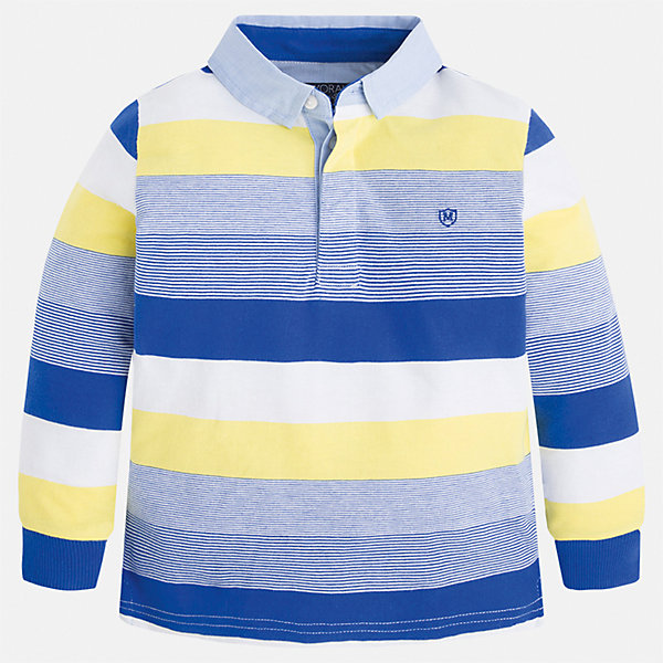 Футболка-поло с длинным рукавом для мальчика MayoralПолоска<br>Характеристики товара:<br><br>• цвет: синий/белый/желтый<br>• состав: 100% хлопок<br>• отложной воротник<br>• длинные рукава<br>• застежка: пуговицы<br>• вышивка на груди<br>• страна бренда: Испания<br><br>Удобная модная рубашка-поло для мальчика может стать базовой вещью в гардеробе ребенка. Она отлично сочетается с брюками, шортами, джинсами и т.д. Универсальный крой и цвет позволяет подобрать к вещи низ разных расцветок. Практичное и стильное изделие! В составе материала - только натуральный хлопок, гипоаллергенный, приятный на ощупь, дышащий.<br><br>Одежда, обувь и аксессуары от испанского бренда Mayoral полюбились детям и взрослым по всему миру. Модели этой марки - стильные и удобные. Для их производства используются только безопасные, качественные материалы и фурнитура. Порадуйте ребенка модными и красивыми вещами от Mayoral! <br><br>Рубашку-поло для мальчика от испанского бренда Mayoral (Майорал) можно купить в нашем интернет-магазине.<br><br>Ширина мм: 230<br>Глубина мм: 40<br>Высота мм: 220<br>Вес г: 250<br>Цвет: голубой<br>Возраст от месяцев: 96<br>Возраст до месяцев: 108<br>Пол: Мужской<br>Возраст: Детский<br>Размер: 134,110,92,98,104,116,122,128<br>SKU: 5272135