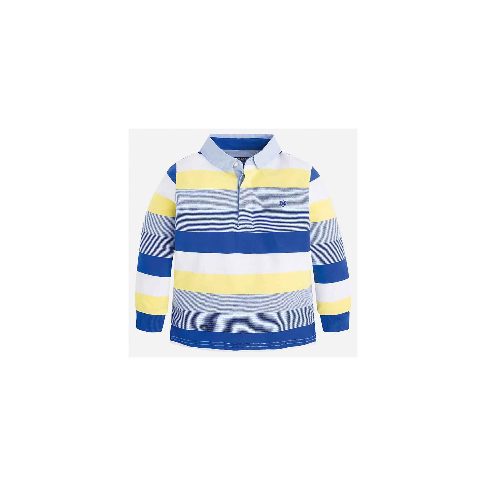 Футболка-поло с длинным рукавом для мальчика MayoralПолоска<br>Характеристики товара:<br><br>• цвет: синий/белый/желтый<br>• состав: 100% хлопок<br>• отложной воротник<br>• длинные рукава<br>• застежка: пуговицы<br>• вышивка на груди<br>• страна бренда: Испания<br><br>Удобная модная рубашка-поло для мальчика может стать базовой вещью в гардеробе ребенка. Она отлично сочетается с брюками, шортами, джинсами и т.д. Универсальный крой и цвет позволяет подобрать к вещи низ разных расцветок. Практичное и стильное изделие! В составе материала - только натуральный хлопок, гипоаллергенный, приятный на ощупь, дышащий.<br><br>Одежда, обувь и аксессуары от испанского бренда Mayoral полюбились детям и взрослым по всему миру. Модели этой марки - стильные и удобные. Для их производства используются только безопасные, качественные материалы и фурнитура. Порадуйте ребенка модными и красивыми вещами от Mayoral! <br><br>Рубашку-поло для мальчика от испанского бренда Mayoral (Майорал) можно купить в нашем интернет-магазине.<br><br>Ширина мм: 230<br>Глубина мм: 40<br>Высота мм: 220<br>Вес г: 250<br>Цвет: голубой<br>Возраст от месяцев: 18<br>Возраст до месяцев: 24<br>Пол: Мужской<br>Возраст: Детский<br>Размер: 92,110,134,128,122,116,104,98<br>SKU: 5272135