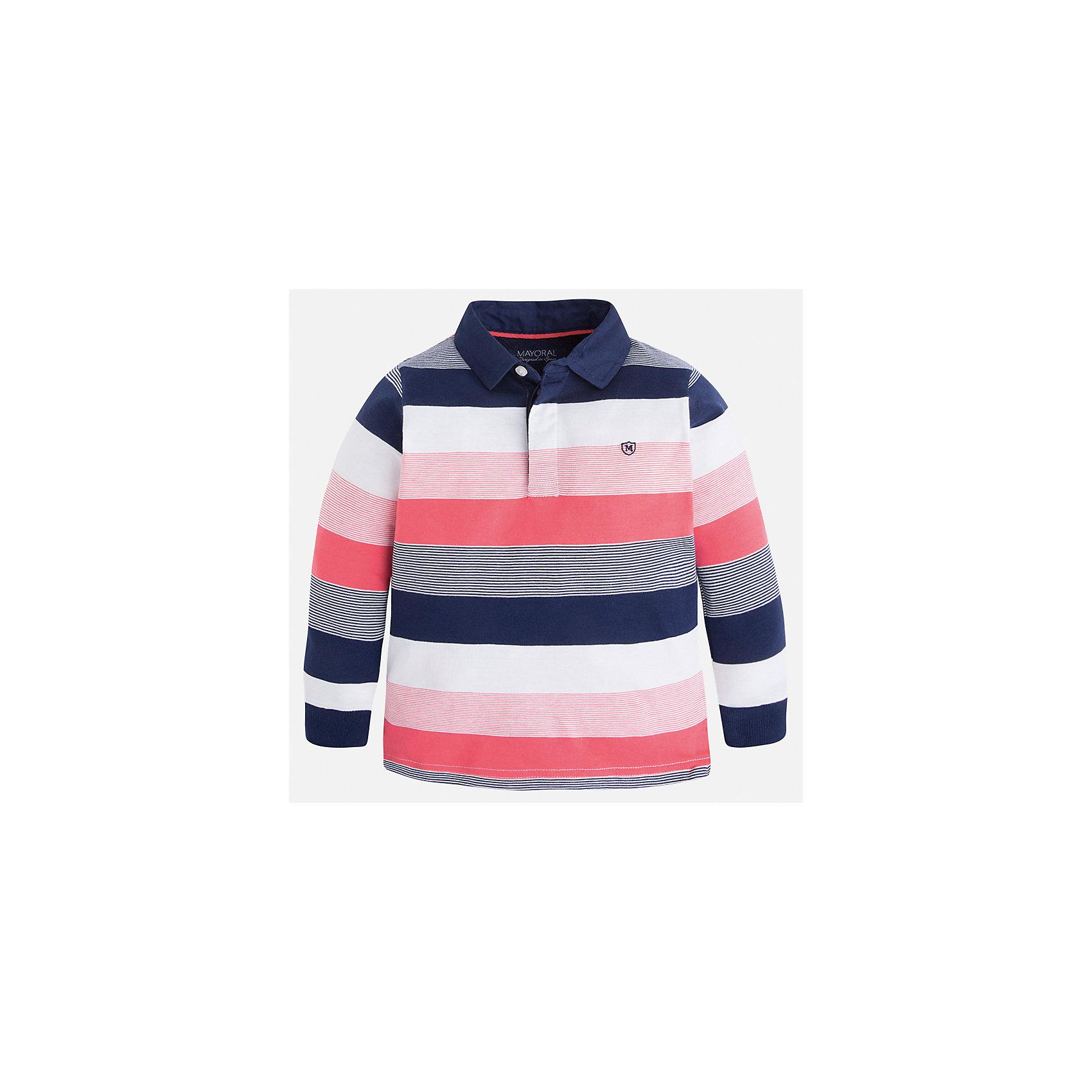 Футболка-поло с длинным рукавом для мальчика MayoralПолоска<br>Характеристики товара:<br><br>• цвет: розовый/синий/белый<br>• состав: 100% хлопок<br>• отложной воротник<br>• длинные рукава<br>• застежка: пуговицы<br>• вышивка на груди<br>• страна бренда: Испания<br><br>Удобная модная рубашка-поло для мальчика может стать базовой вещью в гардеробе ребенка. Она отлично сочетается с брюками, шортами, джинсами и т.д. Универсальный крой и цвет позволяет подобрать к вещи низ разных расцветок. Практичное и стильное изделие! В составе материала - только натуральный хлопок, гипоаллергенный, приятный на ощупь, дышащий.<br><br>Одежда, обувь и аксессуары от испанского бренда Mayoral полюбились детям и взрослым по всему миру. Модели этой марки - стильные и удобные. Для их производства используются только безопасные, качественные материалы и фурнитура. Порадуйте ребенка модными и красивыми вещами от Mayoral! <br><br>Рубашку-поло для мальчика от испанского бренда Mayoral (Майорал) можно купить в нашем интернет-магазине.<br><br>Ширина мм: 230<br>Глубина мм: 40<br>Высота мм: 220<br>Вес г: 250<br>Цвет: розовый<br>Возраст от месяцев: 24<br>Возраст до месяцев: 36<br>Пол: Мужской<br>Возраст: Детский<br>Размер: 98,104,134,128,122,116,110,92<br>SKU: 5272144