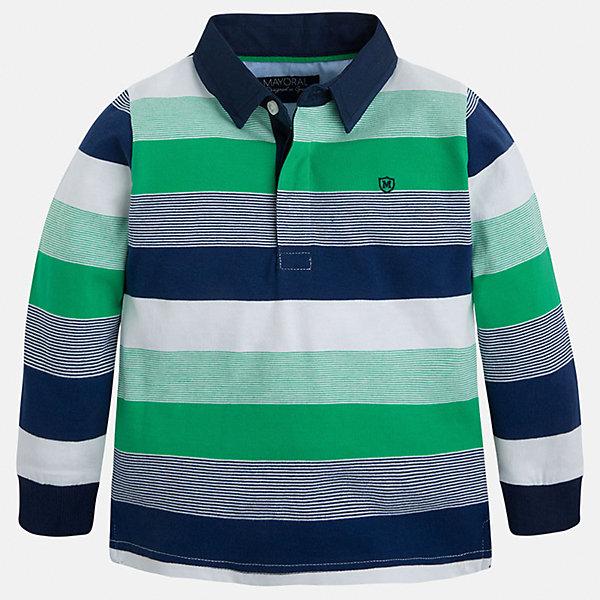Футболка-поло с длинным рукавом для мальчика MayoralФутболки с длинным рукавом<br>Характеристики товара:<br><br>• цвет: синий/зеленый/белый<br>• состав: 100% хлопок<br>• отложной воротник<br>• длинные рукава<br>• застежка: пуговицы<br>• вышивка на груди<br>• страна бренда: Испания<br><br>Удобная модная рубашка-поло для мальчика может стать базовой вещью в гардеробе ребенка. Она отлично сочетается с брюками, шортами, джинсами и т.д. Универсальный крой и цвет позволяет подобрать к вещи низ разных расцветок. Практичное и стильное изделие! В составе материала - только натуральный хлопок, гипоаллергенный, приятный на ощупь, дышащий.<br><br>Одежда, обувь и аксессуары от испанского бренда Mayoral полюбились детям и взрослым по всему миру. Модели этой марки - стильные и удобные. Для их производства используются только безопасные, качественные материалы и фурнитура. Порадуйте ребенка модными и красивыми вещами от Mayoral! <br><br>Рубашку-поло для мальчика от испанского бренда Mayoral (Майорал) можно купить в нашем интернет-магазине.<br>Ширина мм: 230; Глубина мм: 40; Высота мм: 220; Вес г: 250; Цвет: зеленый; Возраст от месяцев: 18; Возраст до месяцев: 24; Пол: Мужской; Возраст: Детский; Размер: 92,134,128,122,104,98,110,116; SKU: 5272153;