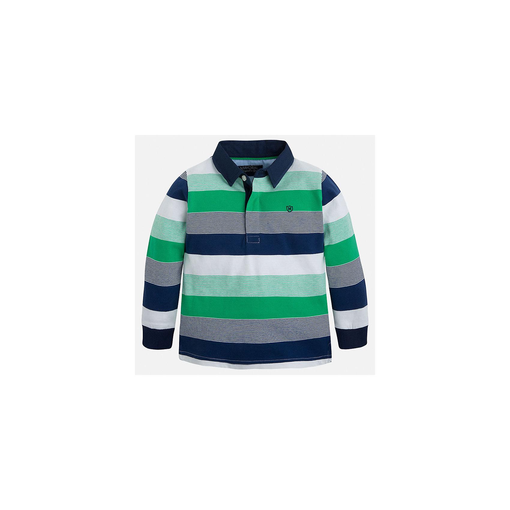 Футболка-поло с длинным рукавом для мальчика MayoralФутболки с длинным рукавом<br>Характеристики товара:<br><br>• цвет: синий/зеленый/белый<br>• состав: 100% хлопок<br>• отложной воротник<br>• длинные рукава<br>• застежка: пуговицы<br>• вышивка на груди<br>• страна бренда: Испания<br><br>Удобная модная рубашка-поло для мальчика может стать базовой вещью в гардеробе ребенка. Она отлично сочетается с брюками, шортами, джинсами и т.д. Универсальный крой и цвет позволяет подобрать к вещи низ разных расцветок. Практичное и стильное изделие! В составе материала - только натуральный хлопок, гипоаллергенный, приятный на ощупь, дышащий.<br><br>Одежда, обувь и аксессуары от испанского бренда Mayoral полюбились детям и взрослым по всему миру. Модели этой марки - стильные и удобные. Для их производства используются только безопасные, качественные материалы и фурнитура. Порадуйте ребенка модными и красивыми вещами от Mayoral! <br><br>Рубашку-поло для мальчика от испанского бренда Mayoral (Майорал) можно купить в нашем интернет-магазине.<br><br>Ширина мм: 230<br>Глубина мм: 40<br>Высота мм: 220<br>Вес г: 250<br>Цвет: зеленый<br>Возраст от месяцев: 84<br>Возраст до месяцев: 96<br>Пол: Мужской<br>Возраст: Детский<br>Размер: 128,134,116,110,92,98,104,122<br>SKU: 5272153