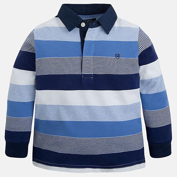 Футболка-поло с длинным рукавом для мальчика MayoralФутболки с длинным рукавом<br>Характеристики товара:<br><br>• цвет: синий/белый/голубой<br>• состав: 100% хлопок<br>• отложной воротник<br>• длинные рукава<br>• застежка: пуговицы<br>• вышивка на груди<br>• страна бренда: Испания<br><br>Удобная модная рубашка-поло для мальчика может стать базовой вещью в гардеробе ребенка. Она отлично сочетается с брюками, шортами, джинсами и т.д. Универсальный крой и цвет позволяет подобрать к вещи низ разных расцветок. Практичное и стильное изделие! В составе материала - только натуральный хлопок, гипоаллергенный, приятный на ощупь, дышащий.<br><br>Одежда, обувь и аксессуары от испанского бренда Mayoral полюбились детям и взрослым по всему миру. Модели этой марки - стильные и удобные. Для их производства используются только безопасные, качественные материалы и фурнитура. Порадуйте ребенка модными и красивыми вещами от Mayoral! <br><br>Рубашку-поло для мальчика от испанского бренда Mayoral (Майорал) можно купить в нашем интернет-магазине.<br><br>Ширина мм: 230<br>Глубина мм: 40<br>Высота мм: 220<br>Вес г: 250<br>Цвет: белый<br>Возраст от месяцев: 18<br>Возраст до месяцев: 24<br>Пол: Мужской<br>Возраст: Детский<br>Размер: 92,116,98,110,122,128,134,104<br>SKU: 5272162