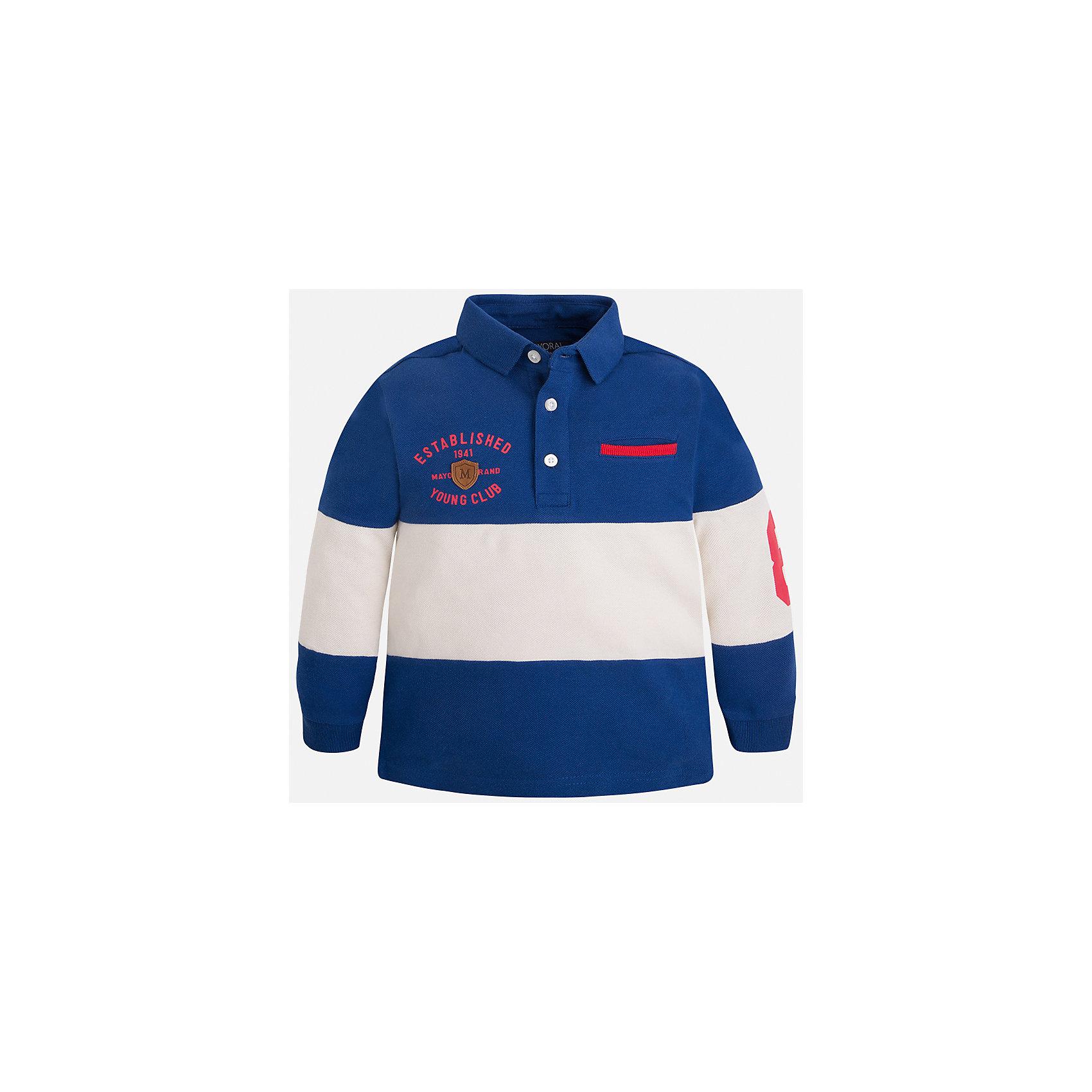Рубашка-поло для мальчика MayoralХарактеристики товара:<br><br>• цвет: синий/молочный<br>• состав: 100% хлопок<br>• отложной воротник<br>• длинные рукава<br>• застежка: пуговицы<br>• вышивка на груди<br>• страна бренда: Испания<br><br>Удобная модная рубашка-поло для мальчика может стать базовой вещью в гардеробе ребенка. Она отлично сочетается с брюками, шортами, джинсами и т.д. Универсальный крой и цвет позволяет подобрать к вещи низ разных расцветок. Практичное и стильное изделие! В составе материала - только натуральный хлопок, гипоаллергенный, приятный на ощупь, дышащий.<br><br>Одежда, обувь и аксессуары от испанского бренда Mayoral полюбились детям и взрослым по всему миру. Модели этой марки - стильные и удобные. Для их производства используются только безопасные, качественные материалы и фурнитура. Порадуйте ребенка модными и красивыми вещами от Mayoral! <br><br>Рубашку-поло для мальчика от испанского бренда Mayoral (Майорал) можно купить в нашем интернет-магазине.<br><br>Ширина мм: 230<br>Глубина мм: 40<br>Высота мм: 220<br>Вес г: 250<br>Цвет: серый<br>Возраст от месяцев: 18<br>Возраст до месяцев: 24<br>Пол: Мужской<br>Возраст: Детский<br>Размер: 92,110,122,134,128,116,104,98<br>SKU: 5272207