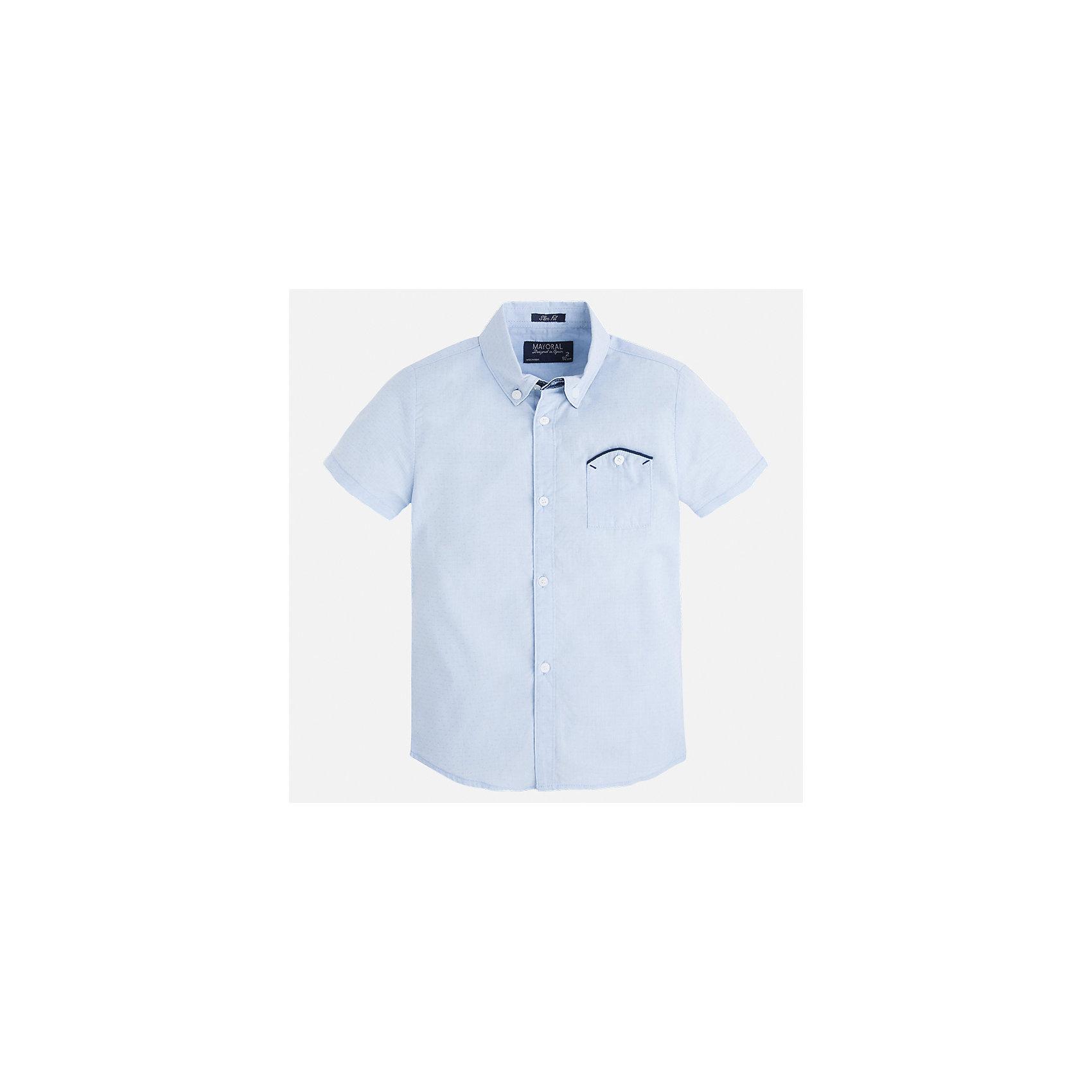 Рубашка для мальчика MayoralХарактеристики товара:<br><br>• цвет: голубой<br>• состав: 100% хлопок<br>• отложной воротник<br>• короткие рукава<br>• застежка: пуговицы<br>• карман на груди<br>• страна бренда: Испания<br><br>Стильная рубашка для мальчика может стать базовой вещью в гардеробе ребенка. Она отлично сочетается с брюками, шортами, джинсами и т.д. Универсальный крой и цвет позволяет подобрать к вещи низ разных расцветок. Практичное и стильное изделие! В составе материала - только натуральный хлопок, гипоаллергенный, приятный на ощупь, дышащий.<br><br>Одежда, обувь и аксессуары от испанского бренда Mayoral полюбились детям и взрослым по всему миру. Модели этой марки - стильные и удобные. Для их производства используются только безопасные, качественные материалы и фурнитура. Порадуйте ребенка модными и красивыми вещами от Mayoral! <br><br>Рубашку для мальчика от испанского бренда Mayoral (Майорал) можно купить в нашем интернет-магазине.<br><br>Ширина мм: 174<br>Глубина мм: 10<br>Высота мм: 169<br>Вес г: 157<br>Цвет: голубой<br>Возраст от месяцев: 18<br>Возраст до месяцев: 24<br>Пол: Мужской<br>Возраст: Детский<br>Размер: 92,98,134,128,122,116,110,104<br>SKU: 5272225