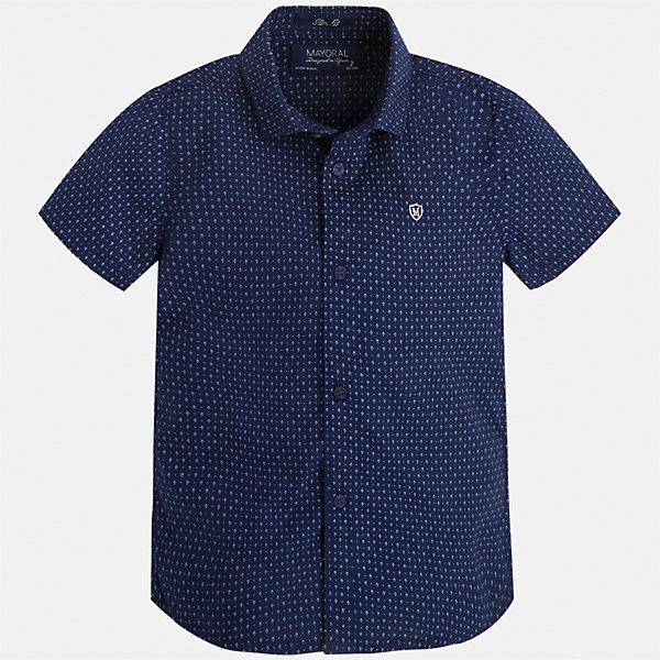 Рубашка для мальчика MayoralБлузки и рубашки<br>Характеристики товара:<br><br>• цвет: синий<br>• состав: 100% хлопок<br>• отложной воротник<br>• короткие рукава<br>• застежка: пуговицы<br>• вышивка на груди<br>• страна бренда: Испания<br><br>Стильная рубашка для мальчика может стать базовой вещью в гардеробе ребенка. Она отлично сочетается с брюками, шортами, джинсами и т.д. Универсальный крой и цвет позволяет подобрать к вещи низ разных расцветок. Практичное и стильное изделие! В составе материала - только натуральный хлопок, гипоаллергенный, приятный на ощупь, дышащий.<br><br>Одежда, обувь и аксессуары от испанского бренда Mayoral полюбились детям и взрослым по всему миру. Модели этой марки - стильные и удобные. Для их производства используются только безопасные, качественные материалы и фурнитура. Порадуйте ребенка модными и красивыми вещами от Mayoral! <br><br>Рубашку для мальчика от испанского бренда Mayoral (Майорал) можно купить в нашем интернет-магазине.<br><br>Ширина мм: 174<br>Глубина мм: 10<br>Высота мм: 169<br>Вес г: 157<br>Цвет: синий<br>Возраст от месяцев: 24<br>Возраст до месяцев: 36<br>Пол: Мужской<br>Возраст: Детский<br>Размер: 98,92,104,110,116,122,128,134<br>SKU: 5272234