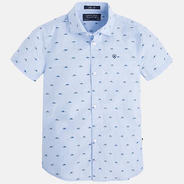Рубашка для мальчика MayoralБлузки и рубашки<br>Характеристики товара:<br><br>• цвет: голубой<br>• состав: 100% хлопок<br>• отложной воротник<br>• короткие рукава<br>• застежка: пуговицы<br>• вышивка на груди<br>• страна бренда: Испания<br><br>Стильная рубашка для мальчика может стать базовой вещью в гардеробе ребенка. Она отлично сочетается с брюками, шортами, джинсами и т.д. Универсальный крой и цвет позволяет подобрать к вещи низ разных расцветок. Практичное и стильное изделие! В составе материала - только натуральный хлопок, гипоаллергенный, приятный на ощупь, дышащий.<br><br>Одежда, обувь и аксессуары от испанского бренда Mayoral полюбились детям и взрослым по всему миру. Модели этой марки - стильные и удобные. Для их производства используются только безопасные, качественные материалы и фурнитура. Порадуйте ребенка модными и красивыми вещами от Mayoral! <br><br>Рубашку для мальчика от испанского бренда Mayoral (Майорал) можно купить в нашем интернет-магазине.<br>Ширина мм: 174; Глубина мм: 10; Высота мм: 169; Вес г: 157; Цвет: голубой; Возраст от месяцев: 18; Возраст до месяцев: 24; Пол: Мужской; Возраст: Детский; Размер: 92,104,134,128,122,116,110,98; SKU: 5272243;