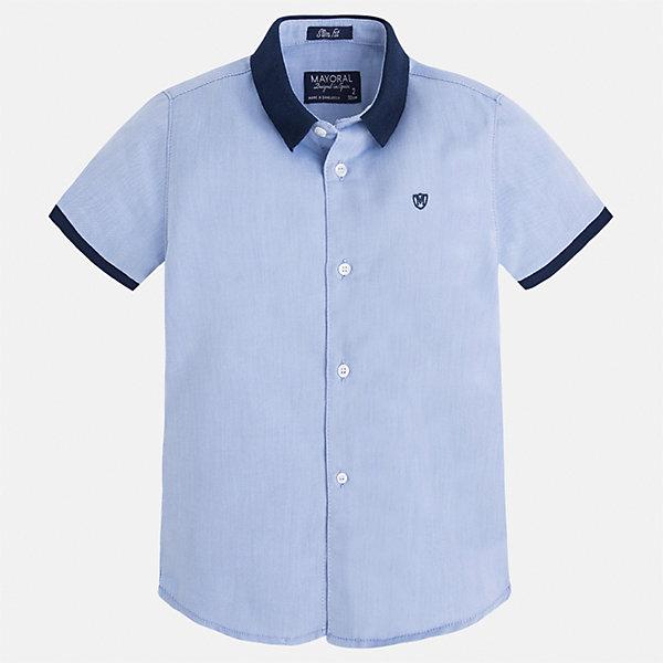 Рубашка для мальчика MayoralБлузки и рубашки<br>Характеристики товара:<br><br>• цвет: голубой<br>• состав: 100% хлопок<br>• отложной воротник<br>• короткие рукава<br>• застежка: пуговицы<br>• вышивка на груди<br>• страна бренда: Испания<br><br>Стильная рубашка для мальчика может стать базовой вещью в гардеробе ребенка. Она отлично сочетается с брюками, шортами, джинсами и т.д. Универсальный крой и цвет позволяет подобрать к вещи низ разных расцветок. Практичное и стильное изделие! В составе материала - только натуральный хлопок, гипоаллергенный, приятный на ощупь, дышащий.<br><br>Одежда, обувь и аксессуары от испанского бренда Mayoral полюбились детям и взрослым по всему миру. Модели этой марки - стильные и удобные. Для их производства используются только безопасные, качественные материалы и фурнитура. Порадуйте ребенка модными и красивыми вещами от Mayoral! <br><br>Рубашку для мальчика от испанского бренда Mayoral (Майорал) можно купить в нашем интернет-магазине.<br>Ширина мм: 174; Глубина мм: 10; Высота мм: 169; Вес г: 157; Цвет: голубой; Возраст от месяцев: 18; Возраст до месяцев: 24; Пол: Мужской; Возраст: Детский; Размер: 92,104,110,116,122,128,134,98; SKU: 5272261;