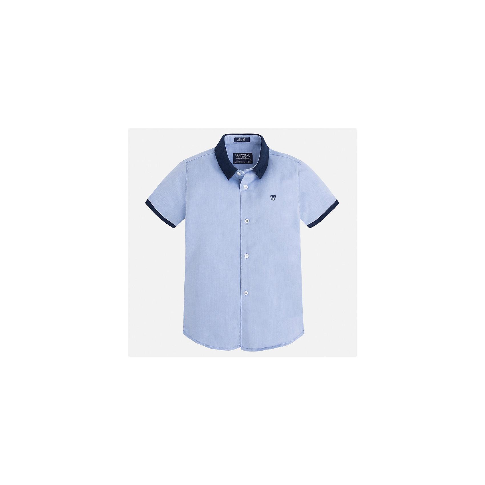 Рубашка для мальчика MayoralБлузки и рубашки<br>Характеристики товара:<br><br>• цвет: голубой<br>• состав: 100% хлопок<br>• отложной воротник<br>• короткие рукава<br>• застежка: пуговицы<br>• вышивка на груди<br>• страна бренда: Испания<br><br>Стильная рубашка для мальчика может стать базовой вещью в гардеробе ребенка. Она отлично сочетается с брюками, шортами, джинсами и т.д. Универсальный крой и цвет позволяет подобрать к вещи низ разных расцветок. Практичное и стильное изделие! В составе материала - только натуральный хлопок, гипоаллергенный, приятный на ощупь, дышащий.<br><br>Одежда, обувь и аксессуары от испанского бренда Mayoral полюбились детям и взрослым по всему миру. Модели этой марки - стильные и удобные. Для их производства используются только безопасные, качественные материалы и фурнитура. Порадуйте ребенка модными и красивыми вещами от Mayoral! <br><br>Рубашку для мальчика от испанского бренда Mayoral (Майорал) можно купить в нашем интернет-магазине.<br><br>Ширина мм: 174<br>Глубина мм: 10<br>Высота мм: 169<br>Вес г: 157<br>Цвет: голубой<br>Возраст от месяцев: 72<br>Возраст до месяцев: 84<br>Пол: Мужской<br>Возраст: Детский<br>Размер: 122,134,128,116,110,104,98,92<br>SKU: 5272261