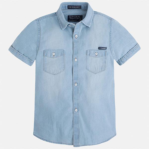Рубашка джинсовая для мальчика MayoralДжинсовая одежда<br>Характеристики товара:<br><br>• цвет: голубой джинс<br>• состав: 100% хлопок<br>• отложной воротник<br>• короткие рукава<br>• застежка: пуговицы<br>• карманы на груди<br>• страна бренда: Испания<br><br>Стильная рубашка для мальчика может стать базовой вещью в гардеробе ребенка. Она отлично сочетается с брюками, шортами, джинсами и т.д. Универсальный крой и цвет позволяет подобрать к вещи низ разных расцветок. Практичное и стильное изделие! В составе материала - только натуральный хлопок, гипоаллергенный, приятный на ощупь, дышащий.<br><br>Одежда, обувь и аксессуары от испанского бренда Mayoral полюбились детям и взрослым по всему миру. Модели этой марки - стильные и удобные. Для их производства используются только безопасные, качественные материалы и фурнитура. Порадуйте ребенка модными и красивыми вещами от Mayoral! <br><br>Рубашку для мальчика от испанского бренда Mayoral (Майорал) можно купить в нашем интернет-магазине.<br>Ширина мм: 174; Глубина мм: 10; Высота мм: 169; Вес г: 157; Цвет: синий; Возраст от месяцев: 96; Возраст до месяцев: 108; Пол: Мужской; Возраст: Детский; Размер: 134,92,98,104,110,116,122,128; SKU: 5272279;