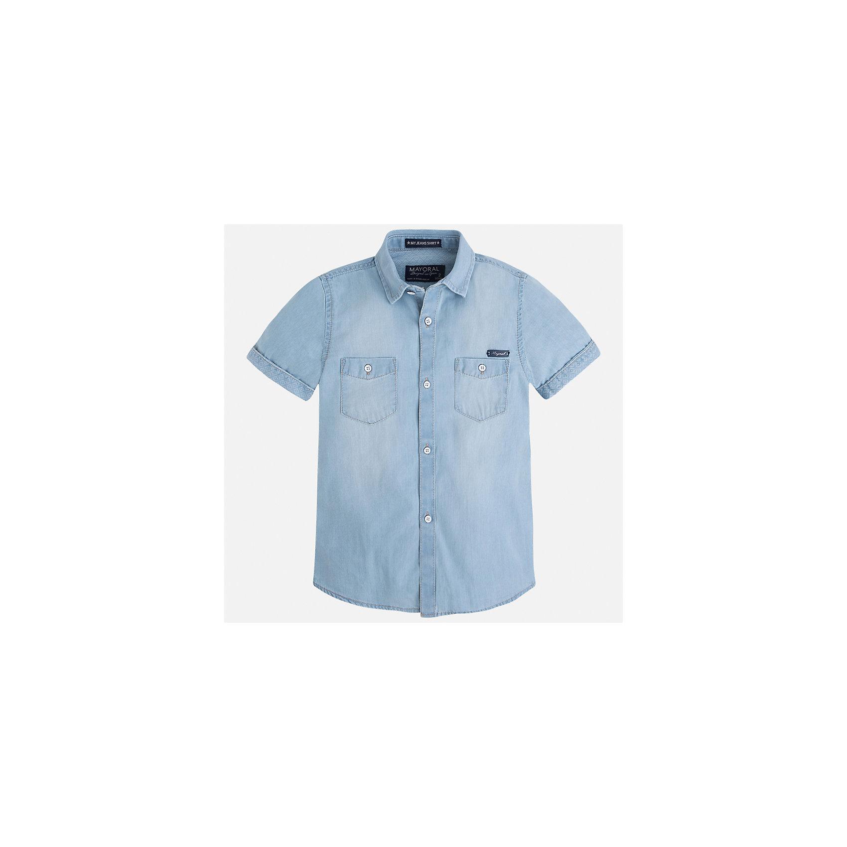 Рубашка джинсовая для мальчика MayoralБлузки и рубашки<br>Характеристики товара:<br><br>• цвет: голубой джинс<br>• состав: 100% хлопок<br>• отложной воротник<br>• короткие рукава<br>• застежка: пуговицы<br>• карманы на груди<br>• страна бренда: Испания<br><br>Стильная рубашка для мальчика может стать базовой вещью в гардеробе ребенка. Она отлично сочетается с брюками, шортами, джинсами и т.д. Универсальный крой и цвет позволяет подобрать к вещи низ разных расцветок. Практичное и стильное изделие! В составе материала - только натуральный хлопок, гипоаллергенный, приятный на ощупь, дышащий.<br><br>Одежда, обувь и аксессуары от испанского бренда Mayoral полюбились детям и взрослым по всему миру. Модели этой марки - стильные и удобные. Для их производства используются только безопасные, качественные материалы и фурнитура. Порадуйте ребенка модными и красивыми вещами от Mayoral! <br><br>Рубашку для мальчика от испанского бренда Mayoral (Майорал) можно купить в нашем интернет-магазине.<br><br>Ширина мм: 174<br>Глубина мм: 10<br>Высота мм: 169<br>Вес г: 157<br>Цвет: синий<br>Возраст от месяцев: 18<br>Возраст до месяцев: 24<br>Пол: Мужской<br>Возраст: Детский<br>Размер: 92,134,128,122,116,110,104,98<br>SKU: 5272279