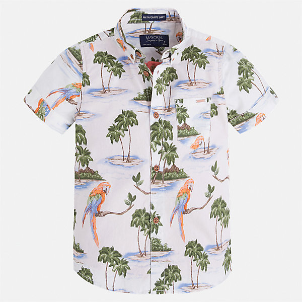 Рубашка для мальчика MayoralБлузки и рубашки<br>Характеристики товара:<br><br>• цвет: белый принт<br>• состав: 100% хлопок<br>• отложной воротник<br>• короткие рукава<br>• застежка: пуговицы<br>• карман на груди<br>• страна бренда: Испания<br><br>Стильная рубашка для мальчика может стать базовой вещью в гардеробе ребенка. Она отлично сочетается с брюками, шортами, джинсами и т.д. Универсальный крой и цвет позволяет подобрать к вещи низ разных расцветок. Практичное и стильное изделие! В составе материала - только натуральный хлопок, гипоаллергенный, приятный на ощупь, дышащий.<br><br>Одежда, обувь и аксессуары от испанского бренда Mayoral полюбились детям и взрослым по всему миру. Модели этой марки - стильные и удобные. Для их производства используются только безопасные, качественные материалы и фурнитура. Порадуйте ребенка модными и красивыми вещами от Mayoral! <br><br>Рубашку для мальчика от испанского бренда Mayoral (Майорал) можно купить в нашем интернет-магазине.<br>Ширина мм: 174; Глубина мм: 10; Высота мм: 169; Вес г: 157; Цвет: голубой; Возраст от месяцев: 18; Возраст до месяцев: 24; Пол: Мужской; Возраст: Детский; Размер: 92,98,104,110,116,122,128,134; SKU: 5272297;