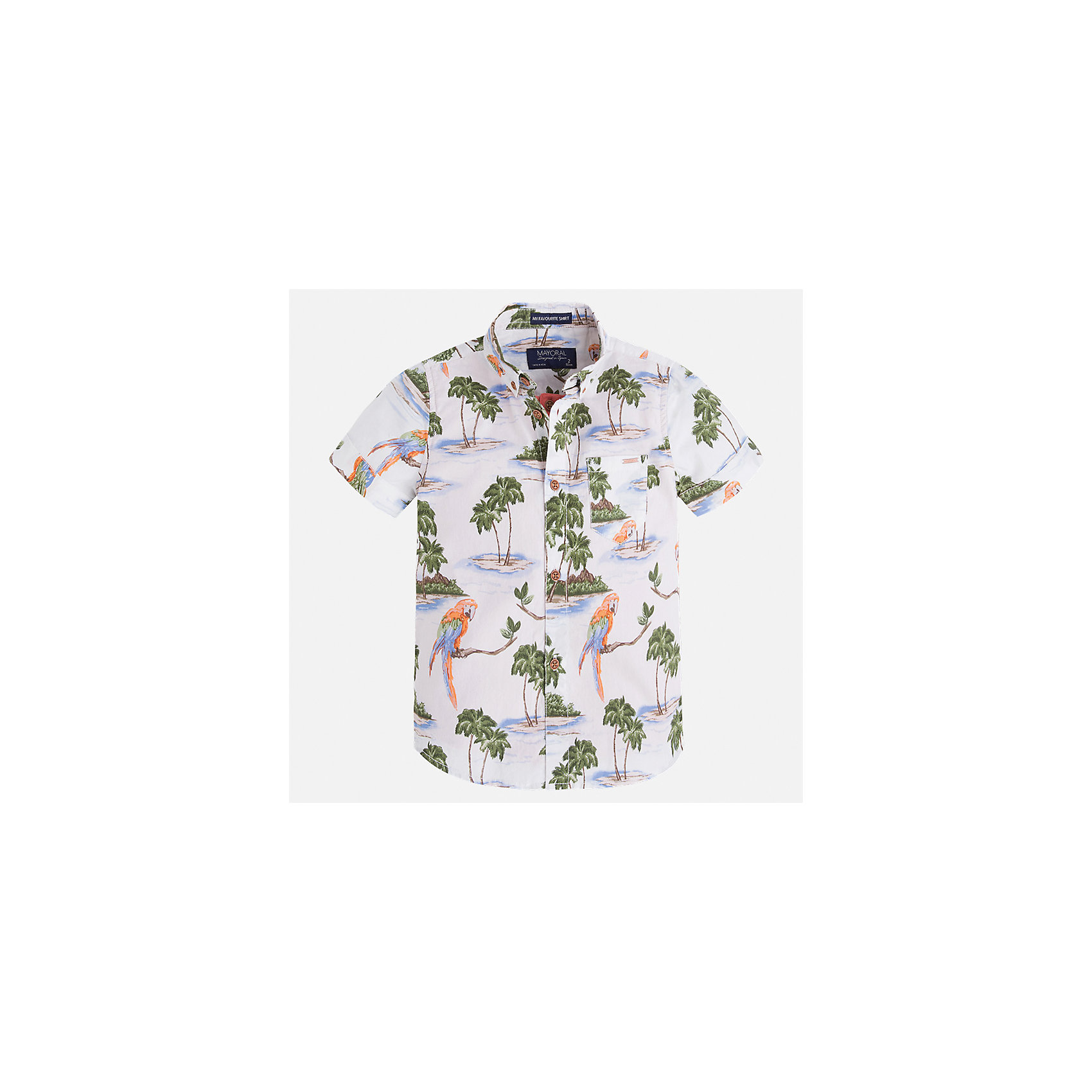 Рубашка для мальчика MayoralБлузки и рубашки<br>Характеристики товара:<br><br>• цвет: белый принт<br>• состав: 100% хлопок<br>• отложной воротник<br>• короткие рукава<br>• застежка: пуговицы<br>• карман на груди<br>• страна бренда: Испания<br><br>Стильная рубашка для мальчика может стать базовой вещью в гардеробе ребенка. Она отлично сочетается с брюками, шортами, джинсами и т.д. Универсальный крой и цвет позволяет подобрать к вещи низ разных расцветок. Практичное и стильное изделие! В составе материала - только натуральный хлопок, гипоаллергенный, приятный на ощупь, дышащий.<br><br>Одежда, обувь и аксессуары от испанского бренда Mayoral полюбились детям и взрослым по всему миру. Модели этой марки - стильные и удобные. Для их производства используются только безопасные, качественные материалы и фурнитура. Порадуйте ребенка модными и красивыми вещами от Mayoral! <br><br>Рубашку для мальчика от испанского бренда Mayoral (Майорал) можно купить в нашем интернет-магазине.<br><br>Ширина мм: 174<br>Глубина мм: 10<br>Высота мм: 169<br>Вес г: 157<br>Цвет: голубой<br>Возраст от месяцев: 24<br>Возраст до месяцев: 36<br>Пол: Мужской<br>Возраст: Детский<br>Размер: 98,92,134,128,122,116,110,104<br>SKU: 5272297
