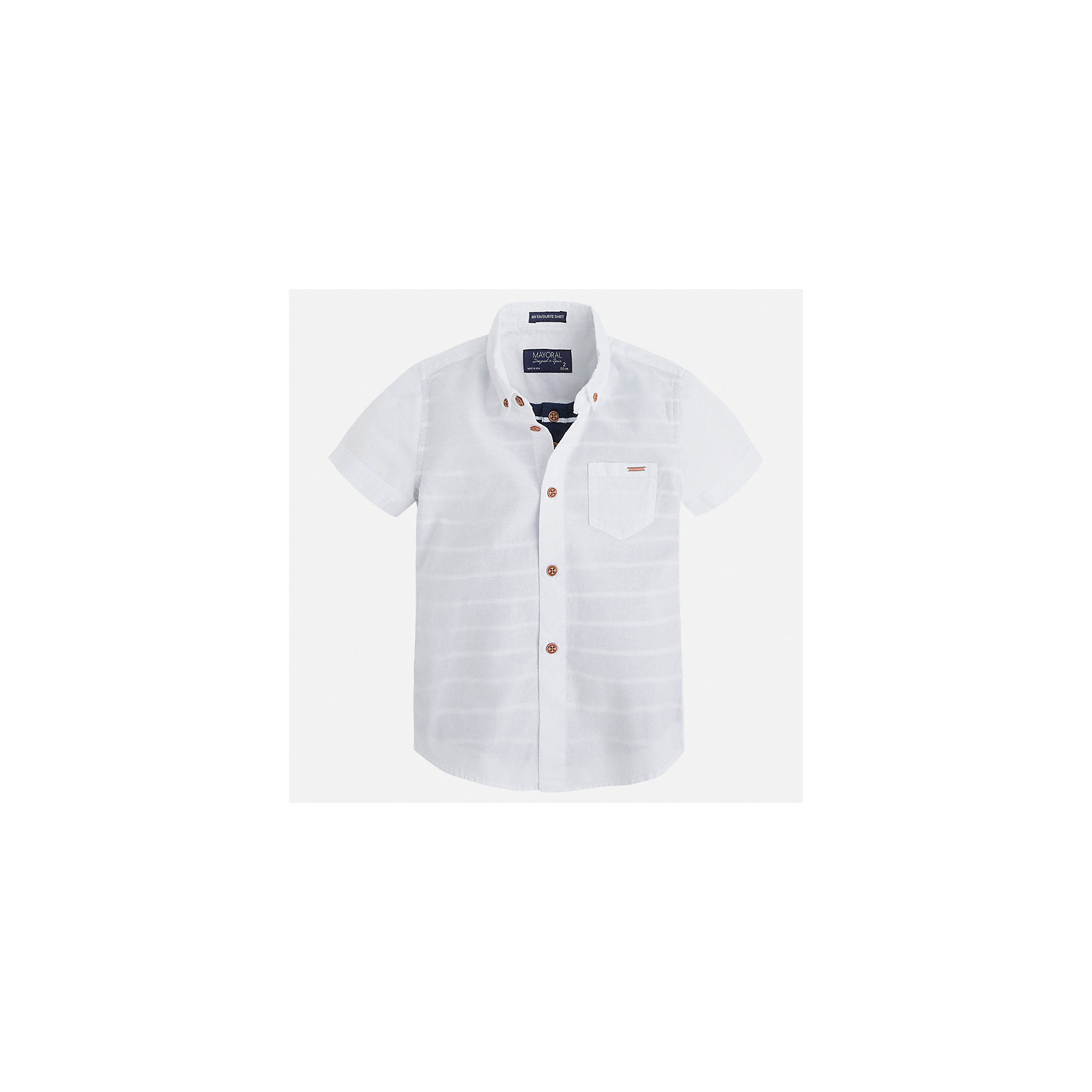 Рубашка для мальчика MayoralБлузки и рубашки<br>Характеристики товара:<br><br>• цвет: белый<br>• состав: 100% хлопок<br>• отложной воротник<br>• короткие рукава<br>• застежка: пуговицы<br>• карман на груди<br>• страна бренда: Испания<br><br>Стильная рубашка для мальчика может стать базовой вещью в гардеробе ребенка. Она отлично сочетается с брюками, шортами, джинсами и т.д. Универсальный крой и цвет позволяет подобрать к вещи низ разных расцветок. Практичное и стильное изделие! В составе материала - только натуральный хлопок, гипоаллергенный, приятный на ощупь, дышащий.<br><br>Одежда, обувь и аксессуары от испанского бренда Mayoral полюбились детям и взрослым по всему миру. Модели этой марки - стильные и удобные. Для их производства используются только безопасные, качественные материалы и фурнитура. Порадуйте ребенка модными и красивыми вещами от Mayoral! <br><br>Рубашку для мальчика от испанского бренда Mayoral (Майорал) можно купить в нашем интернет-магазине.<br><br>Ширина мм: 174<br>Глубина мм: 10<br>Высота мм: 169<br>Вес г: 157<br>Цвет: белый<br>Возраст от месяцев: 72<br>Возраст до месяцев: 84<br>Пол: Мужской<br>Возраст: Детский<br>Размер: 116,110,98,92,104,134,128,122<br>SKU: 5272306