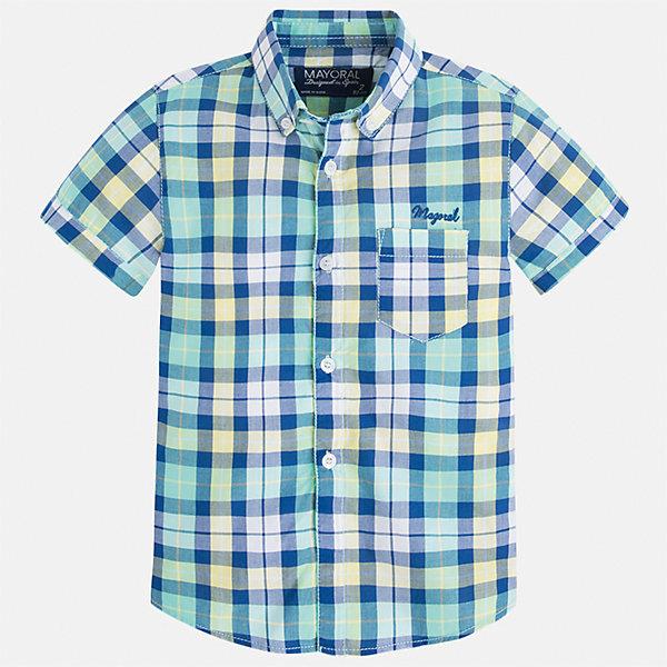Рубашка для мальчика MayoralБлузки и рубашки<br>Характеристики товара:<br><br>• цвет: зеленый<br>• состав: 100% хлопок<br>• отложной воротник<br>• короткие рукава<br>• застежка: пуговицы<br>• вышивка и карман на груди<br>• страна бренда: Испания<br><br>Стильная рубашка для мальчика может стать базовой вещью в гардеробе ребенка. Она отлично сочетается с брюками, шортами, джинсами и т.д. Универсальный крой и цвет позволяет подобрать к вещи низ разных расцветок. Практичное и стильное изделие! В составе материала - только натуральный хлопок, гипоаллергенный, приятный на ощупь, дышащий.<br><br>Одежда, обувь и аксессуары от испанского бренда Mayoral полюбились детям и взрослым по всему миру. Модели этой марки - стильные и удобные. Для их производства используются только безопасные, качественные материалы и фурнитура. Порадуйте ребенка модными и красивыми вещами от Mayoral! <br><br>Рубашку для мальчика от испанского бренда Mayoral (Майорал) можно купить в нашем интернет-магазине.<br>Ширина мм: 174; Глубина мм: 10; Высота мм: 169; Вес г: 157; Цвет: зеленый; Возраст от месяцев: 72; Возраст до месяцев: 84; Пол: Мужской; Возраст: Детский; Размер: 122,116,128,134,92,98,104,110; SKU: 5272315;