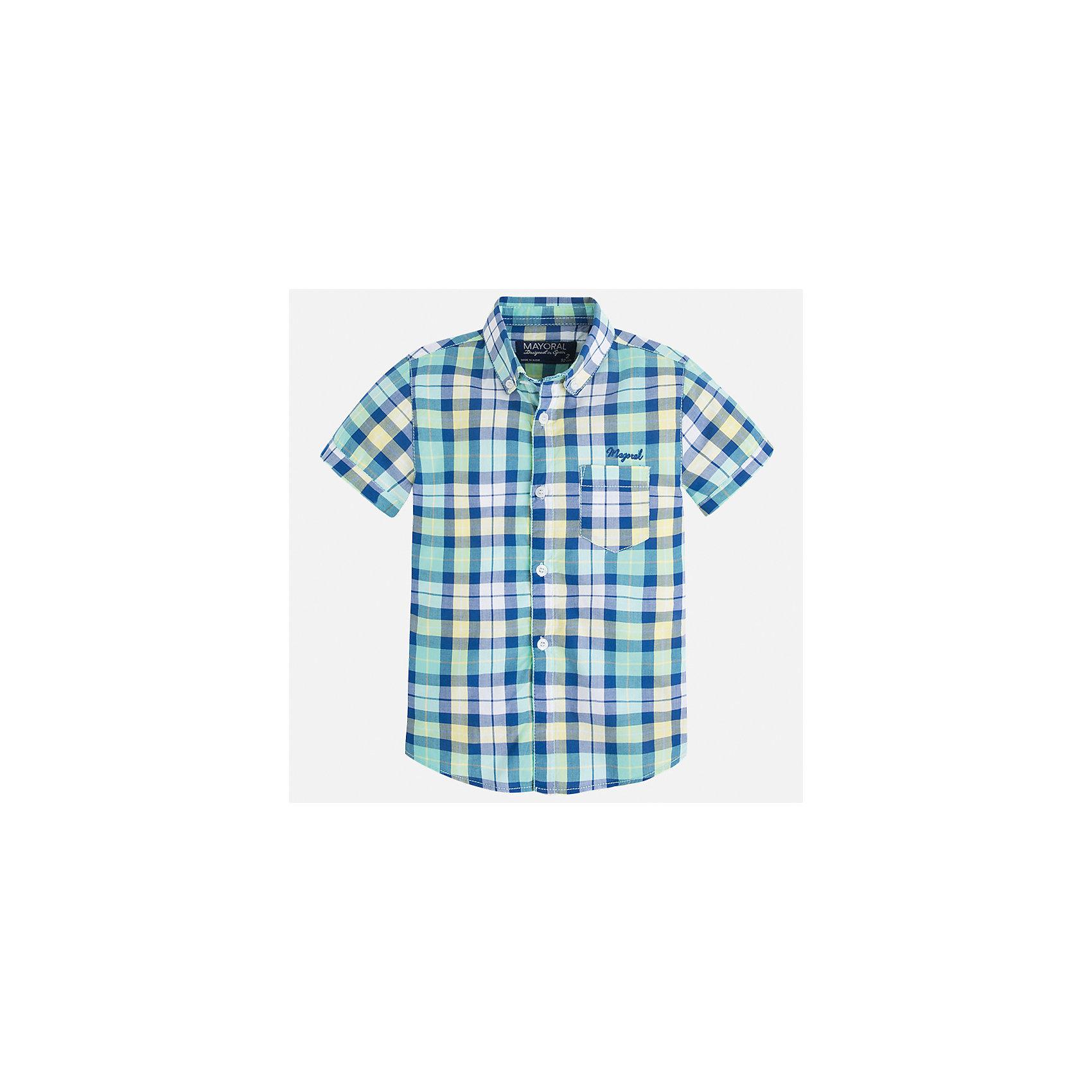 Рубашка для мальчика MayoralБлузки и рубашки<br>Характеристики товара:<br><br>• цвет: зеленый<br>• состав: 100% хлопок<br>• отложной воротник<br>• короткие рукава<br>• застежка: пуговицы<br>• вышивка и карман на груди<br>• страна бренда: Испания<br><br>Стильная рубашка для мальчика может стать базовой вещью в гардеробе ребенка. Она отлично сочетается с брюками, шортами, джинсами и т.д. Универсальный крой и цвет позволяет подобрать к вещи низ разных расцветок. Практичное и стильное изделие! В составе материала - только натуральный хлопок, гипоаллергенный, приятный на ощупь, дышащий.<br><br>Одежда, обувь и аксессуары от испанского бренда Mayoral полюбились детям и взрослым по всему миру. Модели этой марки - стильные и удобные. Для их производства используются только безопасные, качественные материалы и фурнитура. Порадуйте ребенка модными и красивыми вещами от Mayoral! <br><br>Рубашку для мальчика от испанского бренда Mayoral (Майорал) можно купить в нашем интернет-магазине.<br><br>Ширина мм: 174<br>Глубина мм: 10<br>Высота мм: 169<br>Вес г: 157<br>Цвет: зеленый<br>Возраст от месяцев: 18<br>Возраст до месяцев: 24<br>Пол: Мужской<br>Возраст: Детский<br>Размер: 92,134,128,122,116,110,104,98<br>SKU: 5272315