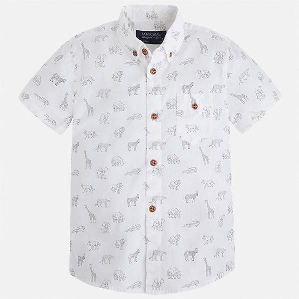Рубашка для мальчика MayoralБлузки и рубашки<br>Характеристики товара:<br><br>• цвет: белый<br>• состав: 100% хлопок<br>• отложной воротник<br>• короткие рукава<br>• застежка: пуговицы<br>• карман на груди<br>• страна бренда: Испания<br><br>Стильная рубашка для мальчика может стать базовой вещью в гардеробе ребенка. Она отлично сочетается с брюками, шортами, джинсами и т.д. Универсальный крой и цвет позволяет подобрать к вещи низ разных расцветок. Практичное и стильное изделие! В составе материала - только натуральный хлопок, гипоаллергенный, приятный на ощупь, дышащий.<br><br>Одежда, обувь и аксессуары от испанского бренда Mayoral полюбились детям и взрослым по всему миру. Модели этой марки - стильные и удобные. Для их производства используются только безопасные, качественные материалы и фурнитура. Порадуйте ребенка модными и красивыми вещами от Mayoral! <br><br>Рубашку для мальчика от испанского бренда Mayoral (Майорал) можно купить в нашем интернет-магазине.<br>Ширина мм: 174; Глубина мм: 10; Высота мм: 169; Вес г: 157; Цвет: белый; Возраст от месяцев: 96; Возраст до месяцев: 108; Пол: Мужской; Возраст: Детский; Размер: 134,98,104,122,92,110,116,128; SKU: 5272333;