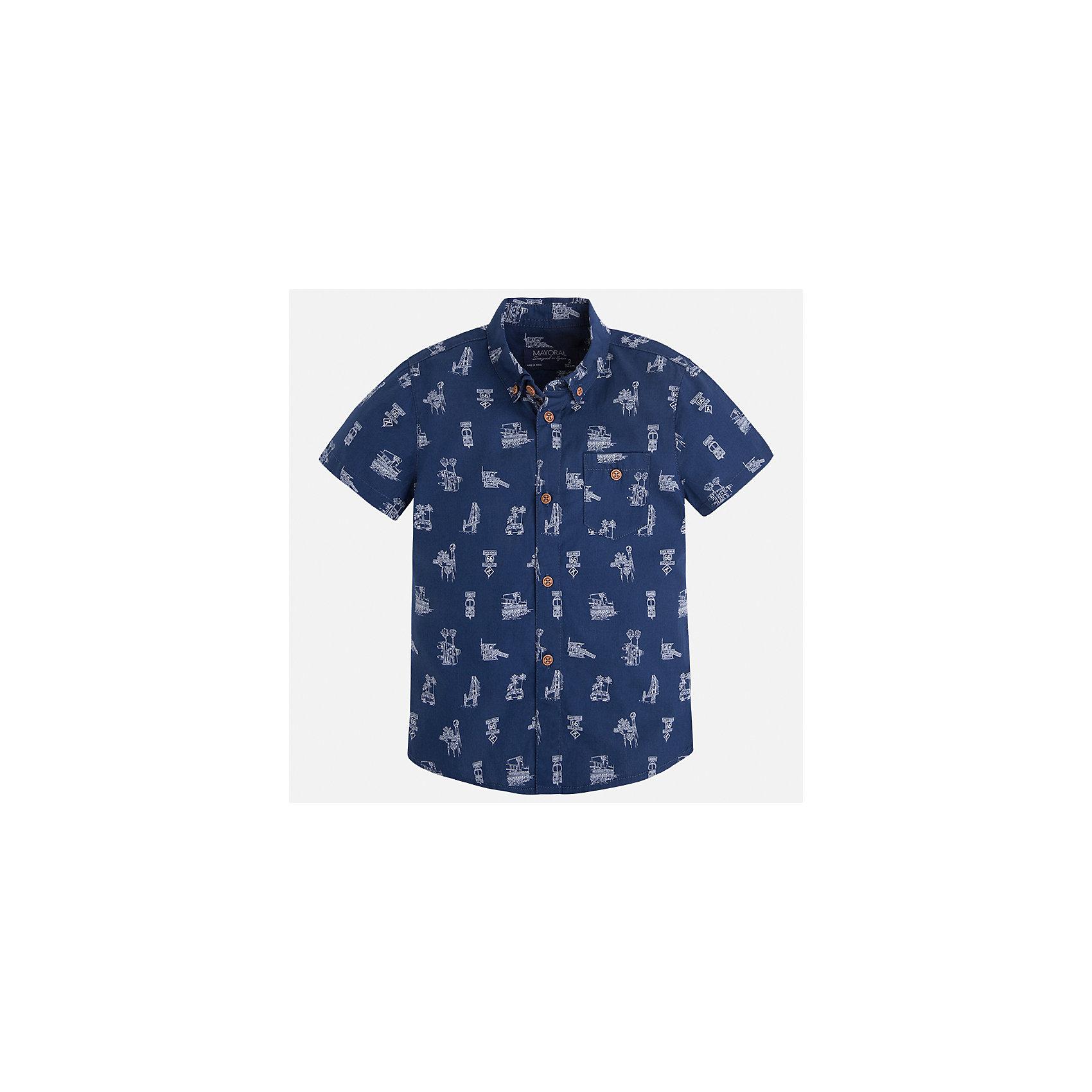Рубашка для мальчика MayoralБлузки и рубашки<br>Характеристики товара:<br><br>• цвет: синий<br>• состав: 100% хлопок<br>• отложной воротник<br>• короткие рукава<br>• застежка: пуговицы<br>• карман на груди<br>• страна бренда: Испания<br><br>Стильная рубашка для мальчика может стать базовой вещью в гардеробе ребенка. Она отлично сочетается с брюками, шортами, джинсами и т.д. Универсальный крой и цвет позволяет подобрать к вещи низ разных расцветок. Практичное и стильное изделие! В составе материала - только натуральный хлопок, гипоаллергенный, приятный на ощупь, дышащий.<br><br>Одежда, обувь и аксессуары от испанского бренда Mayoral полюбились детям и взрослым по всему миру. Модели этой марки - стильные и удобные. Для их производства используются только безопасные, качественные материалы и фурнитура. Порадуйте ребенка модными и красивыми вещами от Mayoral! <br><br>Рубашку для мальчика от испанского бренда Mayoral (Майорал) можно купить в нашем интернет-магазине.<br><br>Ширина мм: 174<br>Глубина мм: 10<br>Высота мм: 169<br>Вес г: 157<br>Цвет: синий<br>Возраст от месяцев: 96<br>Возраст до месяцев: 108<br>Пол: Мужской<br>Возраст: Детский<br>Размер: 134,122,116,98,92,128,104,110<br>SKU: 5272342
