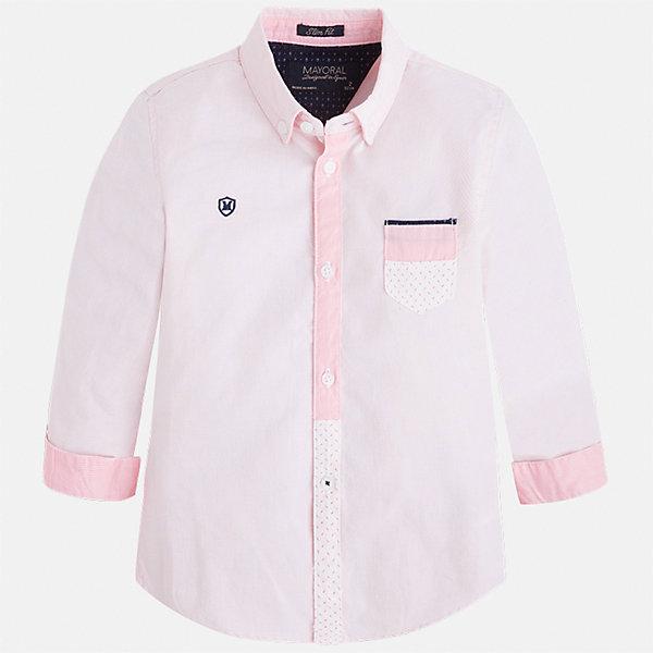 Рубашка для мальчика MayoralБлузки и рубашки<br>Характеристики товара:<br><br>• цвет: розовый<br>• состав: 100% хлопок<br>• отложной воротник<br>• длинные рукава<br>• застежка: пуговицы<br>• карман на груди<br>• страна бренда: Испания<br><br>Удобная модная рубашка-поло для мальчика может стать базовой вещью в гардеробе ребенка. Она отлично сочетается с брюками, шортами, джинсами и т.д. Универсальный крой и цвет позволяет подобрать к вещи низ разных расцветок. Практичное и стильное изделие! В составе материала - только натуральный хлопок, гипоаллергенный, приятный на ощупь, дышащий.<br><br>Одежда, обувь и аксессуары от испанского бренда Mayoral полюбились детям и взрослым по всему миру. Модели этой марки - стильные и удобные. Для их производства используются только безопасные, качественные материалы и фурнитура. Порадуйте ребенка модными и красивыми вещами от Mayoral! <br><br>Рубашку-поло для мальчика от испанского бренда Mayoral (Майорал) можно купить в нашем интернет-магазине.<br><br>Ширина мм: 174<br>Глубина мм: 10<br>Высота мм: 169<br>Вес г: 157<br>Цвет: розовый<br>Возраст от месяцев: 18<br>Возраст до месяцев: 24<br>Пол: Мужской<br>Возраст: Детский<br>Размер: 92,104,98,128,134,122,116,110<br>SKU: 5272351