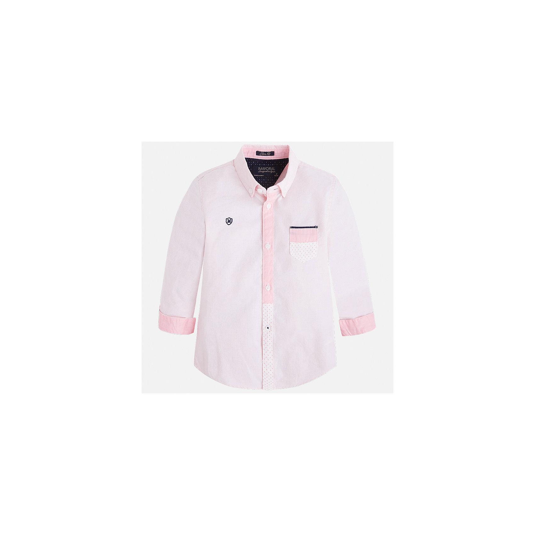 Рубашка для мальчика MayoralБлузки и рубашки<br>Характеристики товара:<br><br>• цвет: розовый<br>• состав: 100% хлопок<br>• отложной воротник<br>• длинные рукава<br>• застежка: пуговицы<br>• карман на груди<br>• страна бренда: Испания<br><br>Удобная модная рубашка-поло для мальчика может стать базовой вещью в гардеробе ребенка. Она отлично сочетается с брюками, шортами, джинсами и т.д. Универсальный крой и цвет позволяет подобрать к вещи низ разных расцветок. Практичное и стильное изделие! В составе материала - только натуральный хлопок, гипоаллергенный, приятный на ощупь, дышащий.<br><br>Одежда, обувь и аксессуары от испанского бренда Mayoral полюбились детям и взрослым по всему миру. Модели этой марки - стильные и удобные. Для их производства используются только безопасные, качественные материалы и фурнитура. Порадуйте ребенка модными и красивыми вещами от Mayoral! <br><br>Рубашку-поло для мальчика от испанского бренда Mayoral (Майорал) можно купить в нашем интернет-магазине.<br><br>Ширина мм: 174<br>Глубина мм: 10<br>Высота мм: 169<br>Вес г: 157<br>Цвет: розовый<br>Возраст от месяцев: 18<br>Возраст до месяцев: 24<br>Пол: Мужской<br>Возраст: Детский<br>Размер: 92,98,104,110,116,122,134,128<br>SKU: 5272351
