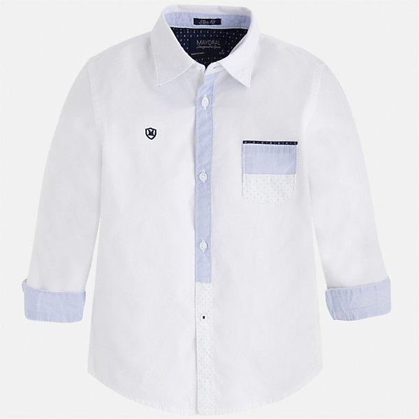 Рубашка для мальчика MayoralОдежда<br>Характеристики товара:<br><br>• цвет: белый<br>• состав: 100% хлопок<br>• отложной воротник<br>• рукава с отворотами<br>• застежка: пуговицы<br>• карман на груди<br>• страна бренда: Испания<br><br>Удобная модная рубашка-поло для мальчика может стать базовой вещью в гардеробе ребенка. Она отлично сочетается с брюками, шортами, джинсами и т.д. Универсальный крой и цвет позволяет подобрать к вещи низ разных расцветок. Практичное и стильное изделие! В составе материала - только натуральный хлопок, гипоаллергенный, приятный на ощупь, дышащий.<br><br>Одежда, обувь и аксессуары от испанского бренда Mayoral полюбились детям и взрослым по всему миру. Модели этой марки - стильные и удобные. Для их производства используются только безопасные, качественные материалы и фурнитура. Порадуйте ребенка модными и красивыми вещами от Mayoral! <br><br>Рубашку-поло для мальчика от испанского бренда Mayoral (Майорал) можно купить в нашем интернет-магазине.<br><br>Ширина мм: 174<br>Глубина мм: 10<br>Высота мм: 169<br>Вес г: 157<br>Цвет: белый<br>Возраст от месяцев: 18<br>Возраст до месяцев: 24<br>Пол: Мужской<br>Возраст: Детский<br>Размер: 92,134,128,98,104,110,116,122<br>SKU: 5272369