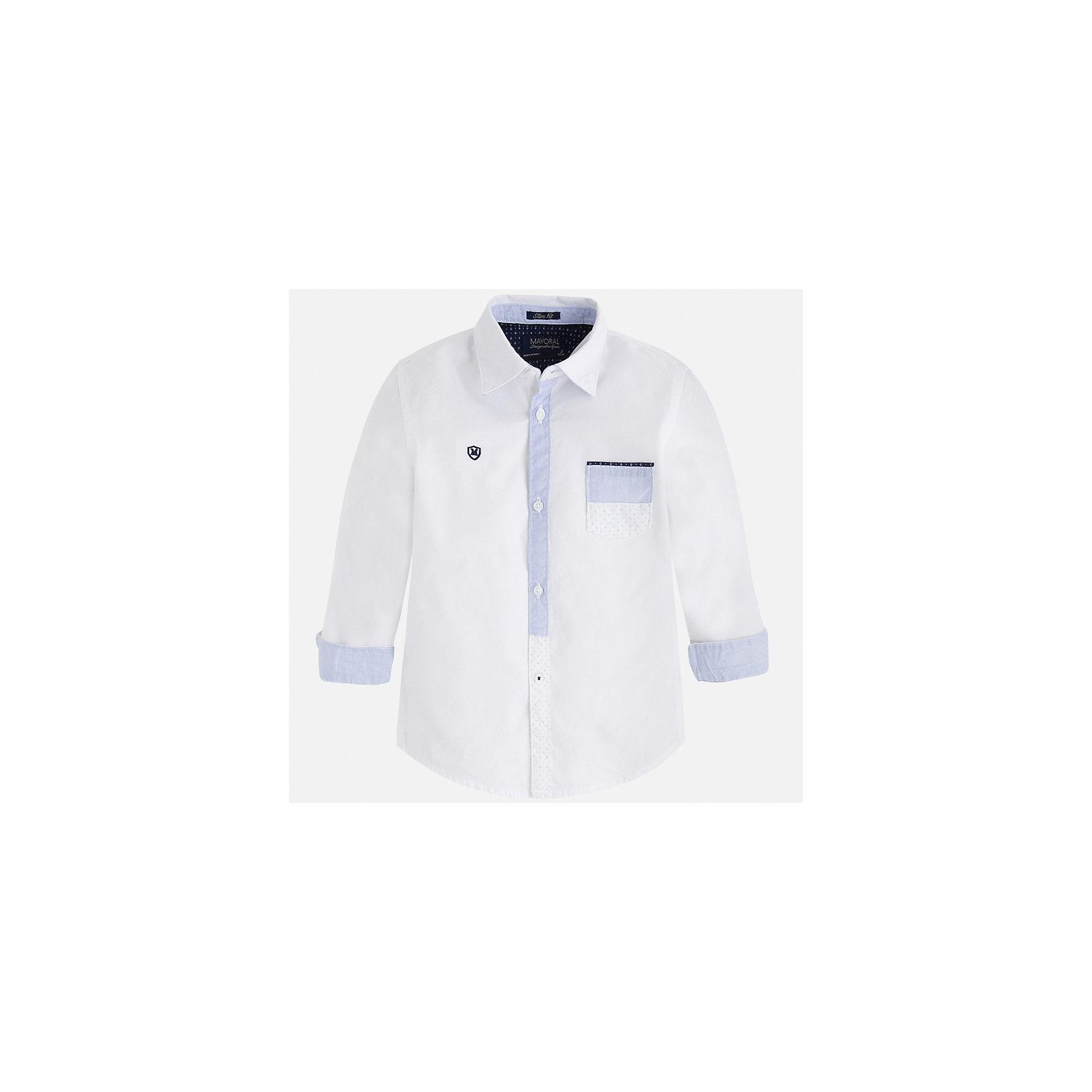 Рубашка для мальчика MayoralБлузки и рубашки<br>Характеристики товара:<br><br>• цвет: белый<br>• состав: 100% хлопок<br>• отложной воротник<br>• рукава с отворотами<br>• застежка: пуговицы<br>• карман на груди<br>• страна бренда: Испания<br><br>Удобная модная рубашка-поло для мальчика может стать базовой вещью в гардеробе ребенка. Она отлично сочетается с брюками, шортами, джинсами и т.д. Универсальный крой и цвет позволяет подобрать к вещи низ разных расцветок. Практичное и стильное изделие! В составе материала - только натуральный хлопок, гипоаллергенный, приятный на ощупь, дышащий.<br><br>Одежда, обувь и аксессуары от испанского бренда Mayoral полюбились детям и взрослым по всему миру. Модели этой марки - стильные и удобные. Для их производства используются только безопасные, качественные материалы и фурнитура. Порадуйте ребенка модными и красивыми вещами от Mayoral! <br><br>Рубашку-поло для мальчика от испанского бренда Mayoral (Майорал) можно купить в нашем интернет-магазине.<br><br>Ширина мм: 174<br>Глубина мм: 10<br>Высота мм: 169<br>Вес г: 157<br>Цвет: белый<br>Возраст от месяцев: 72<br>Возраст до месяцев: 84<br>Пол: Мужской<br>Возраст: Детский<br>Размер: 122,128,134,116,110,104,98,92<br>SKU: 5272369