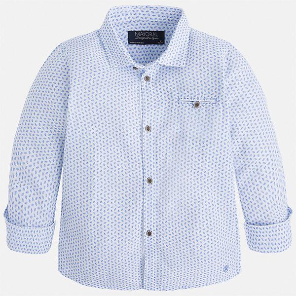 Рубашка для мальчика MayoralБлузки и рубашки<br>Характеристики товара:<br><br>• цвет: голубой<br>• состав: 70% хлопок, 30% лён<br>• отложной воротник<br>• рукава с отворотами<br>• застежка: пуговицы<br>• карман на груди<br>• страна бренда: Испания<br><br>Удобная модная рубашка-поло для мальчика может стать базовой вещью в гардеробе ребенка. Она отлично сочетается с брюками, шортами, джинсами и т.д. Универсальный крой и цвет позволяет подобрать к вещи низ разных расцветок. Практичное и стильное изделие! В составе материала - натуральный хлопок, гипоаллергенный, приятный на ощупь, дышащий.<br><br>Одежда, обувь и аксессуары от испанского бренда Mayoral полюбились детям и взрослым по всему миру. Модели этой марки - стильные и удобные. Для их производства используются только безопасные, качественные материалы и фурнитура. Порадуйте ребенка модными и красивыми вещами от Mayoral! <br><br>Рубашку-поло для мальчика от испанского бренда Mayoral (Майорал) можно купить в нашем интернет-магазине.<br>Ширина мм: 174; Глубина мм: 10; Высота мм: 169; Вес г: 157; Цвет: белый; Возраст от месяцев: 84; Возраст до месяцев: 96; Пол: Мужской; Возраст: Детский; Размер: 128,104,134,122,98,110,92,116; SKU: 5272378;