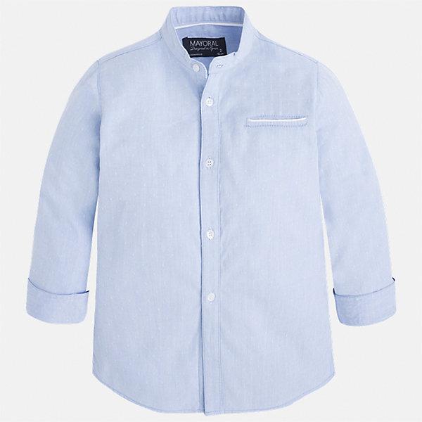 Рубашка для мальчика MayoralБлузки и рубашки<br>Характеристики товара:<br><br>• цвет: голубой<br>• состав: 100% хлопок<br>• отложной воротник<br>• рукава с отворотами<br>• застежка: пуговицы<br>• карман на груди<br>• страна бренда: Испания<br><br>Удобная модная рубашка-поло для мальчика может стать базовой вещью в гардеробе ребенка. Она отлично сочетается с брюками, шортами, джинсами и т.д. Универсальный крой и цвет позволяет подобрать к вещи низ разных расцветок. Практичное и стильное изделие! В составе материала - только натуральный хлопок, гипоаллергенный, приятный на ощупь, дышащий.<br><br>Одежда, обувь и аксессуары от испанского бренда Mayoral полюбились детям и взрослым по всему миру. Модели этой марки - стильные и удобные. Для их производства используются только безопасные, качественные материалы и фурнитура. Порадуйте ребенка модными и красивыми вещами от Mayoral! <br><br>Рубашку-поло для мальчика от испанского бренда Mayoral (Майорал) можно купить в нашем интернет-магазине.<br>Ширина мм: 174; Глубина мм: 10; Высота мм: 169; Вес г: 157; Цвет: голубой; Возраст от месяцев: 18; Возраст до месяцев: 24; Пол: Мужской; Возраст: Детский; Размер: 92,98,104,110,116,134,122,128; SKU: 5272387;