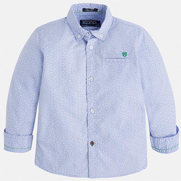 Рубашка для мальчика MayoralБлузки и рубашки<br>Характеристики товара:<br><br>• цвет: голубой<br>• состав: 100% хлопок<br>• отложной воротник<br>• рукава с отворотами<br>• застежка: пуговицы<br>• карман на груди<br>• страна бренда: Испания<br><br>Удобная модная рубашка-поло для мальчика может стать базовой вещью в гардеробе ребенка. Она отлично сочетается с брюками, шортами, джинсами и т.д. Универсальный крой и цвет позволяет подобрать к вещи низ разных расцветок. Практичное и стильное изделие! В составе материала - только натуральный хлопок, гипоаллергенный, приятный на ощупь, дышащий.<br><br>Одежда, обувь и аксессуары от испанского бренда Mayoral полюбились детям и взрослым по всему миру. Модели этой марки - стильные и удобные. Для их производства используются только безопасные, качественные материалы и фурнитура. Порадуйте ребенка модными и красивыми вещами от Mayoral! <br><br>Рубашку-поло для мальчика от испанского бренда Mayoral (Майорал) можно купить в нашем интернет-магазине.<br><br>Ширина мм: 174<br>Глубина мм: 10<br>Высота мм: 169<br>Вес г: 157<br>Цвет: голубой<br>Возраст от месяцев: 36<br>Возраст до месяцев: 48<br>Пол: Мужской<br>Возраст: Детский<br>Размер: 104,122,134,128,116,110,98,92<br>SKU: 5272405