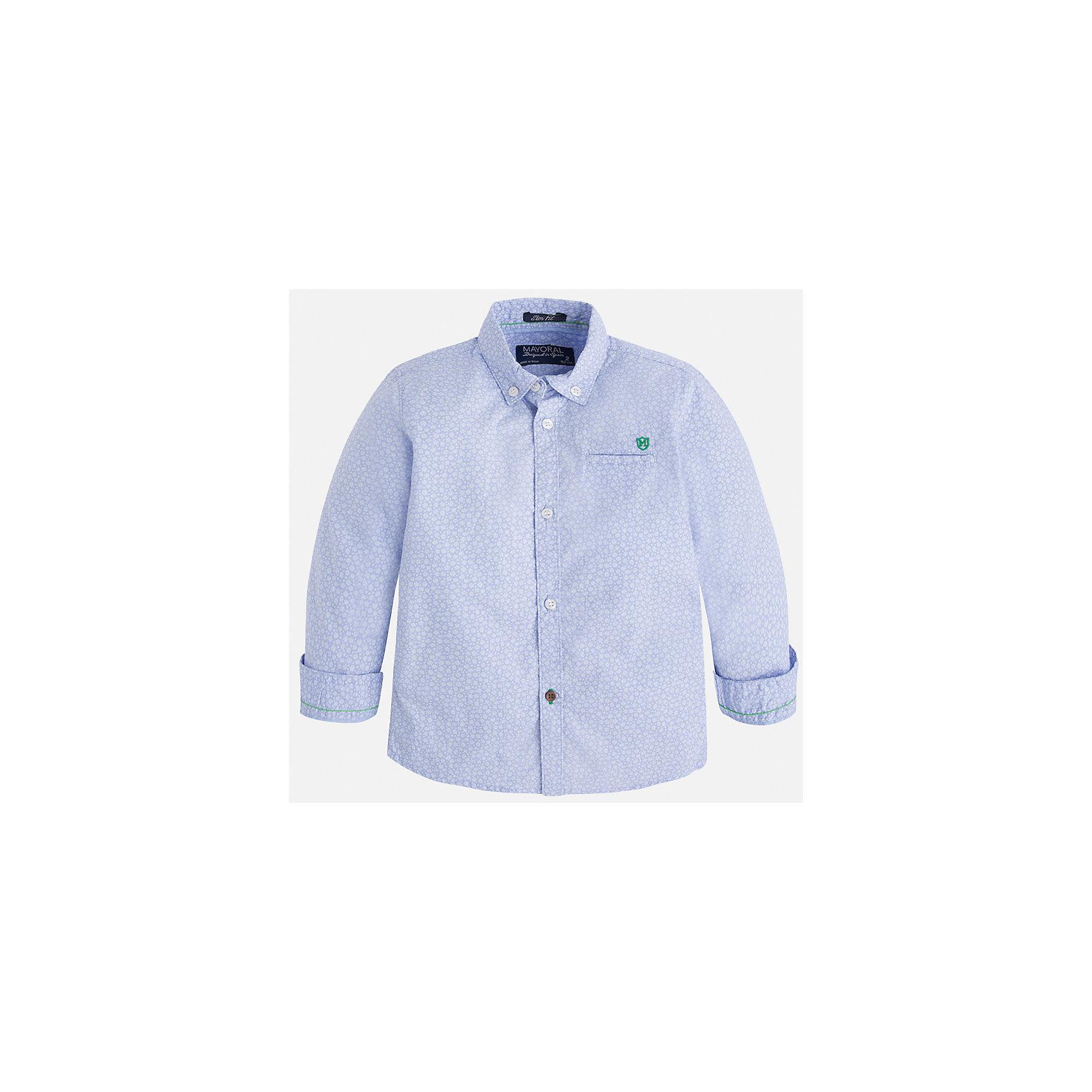 Рубашка для мальчика MayoralБлузки и рубашки<br>Характеристики товара:<br><br>• цвет: голубой<br>• состав: 100% хлопок<br>• отложной воротник<br>• рукава с отворотами<br>• застежка: пуговицы<br>• карман на груди<br>• страна бренда: Испания<br><br>Удобная модная рубашка-поло для мальчика может стать базовой вещью в гардеробе ребенка. Она отлично сочетается с брюками, шортами, джинсами и т.д. Универсальный крой и цвет позволяет подобрать к вещи низ разных расцветок. Практичное и стильное изделие! В составе материала - только натуральный хлопок, гипоаллергенный, приятный на ощупь, дышащий.<br><br>Одежда, обувь и аксессуары от испанского бренда Mayoral полюбились детям и взрослым по всему миру. Модели этой марки - стильные и удобные. Для их производства используются только безопасные, качественные материалы и фурнитура. Порадуйте ребенка модными и красивыми вещами от Mayoral! <br><br>Рубашку-поло для мальчика от испанского бренда Mayoral (Майорал) можно купить в нашем интернет-магазине.<br><br>Ширина мм: 174<br>Глубина мм: 10<br>Высота мм: 169<br>Вес г: 157<br>Цвет: голубой<br>Возраст от месяцев: 72<br>Возраст до месяцев: 84<br>Пол: Мужской<br>Возраст: Детский<br>Размер: 122,104,134,128,116,110,98,92<br>SKU: 5272405