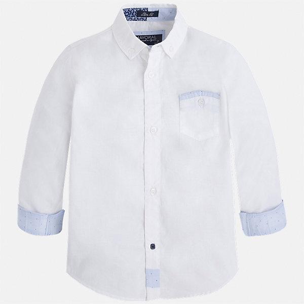 Рубашка для мальчика MayoralОдежда<br>Характеристики товара:<br><br>• цвет: белый<br>• состав: 100% хлопок<br>• отложной воротник<br>• рукава с отворотами<br>• застежка: пуговицы<br>• карман на груди<br>• страна бренда: Испания<br><br>Удобная модная рубашка-поло для мальчика может стать базовой вещью в гардеробе ребенка. Она отлично сочетается с брюками, шортами, джинсами и т.д. Универсальный крой и цвет позволяет подобрать к вещи низ разных расцветок. Практичное и стильное изделие! В составе материала - только натуральный хлопок, гипоаллергенный, приятный на ощупь, дышащий.<br><br>Одежда, обувь и аксессуары от испанского бренда Mayoral полюбились детям и взрослым по всему миру. Модели этой марки - стильные и удобные. Для их производства используются только безопасные, качественные материалы и фурнитура. Порадуйте ребенка модными и красивыми вещами от Mayoral! <br><br>Рубашку-поло для мальчика от испанского бренда Mayoral (Майорал) можно купить в нашем интернет-магазине.<br><br>Ширина мм: 174<br>Глубина мм: 10<br>Высота мм: 169<br>Вес г: 157<br>Цвет: белый<br>Возраст от месяцев: 24<br>Возраст до месяцев: 36<br>Пол: Мужской<br>Возраст: Детский<br>Размер: 98,128,116,122,134,110,104,92<br>SKU: 5272414