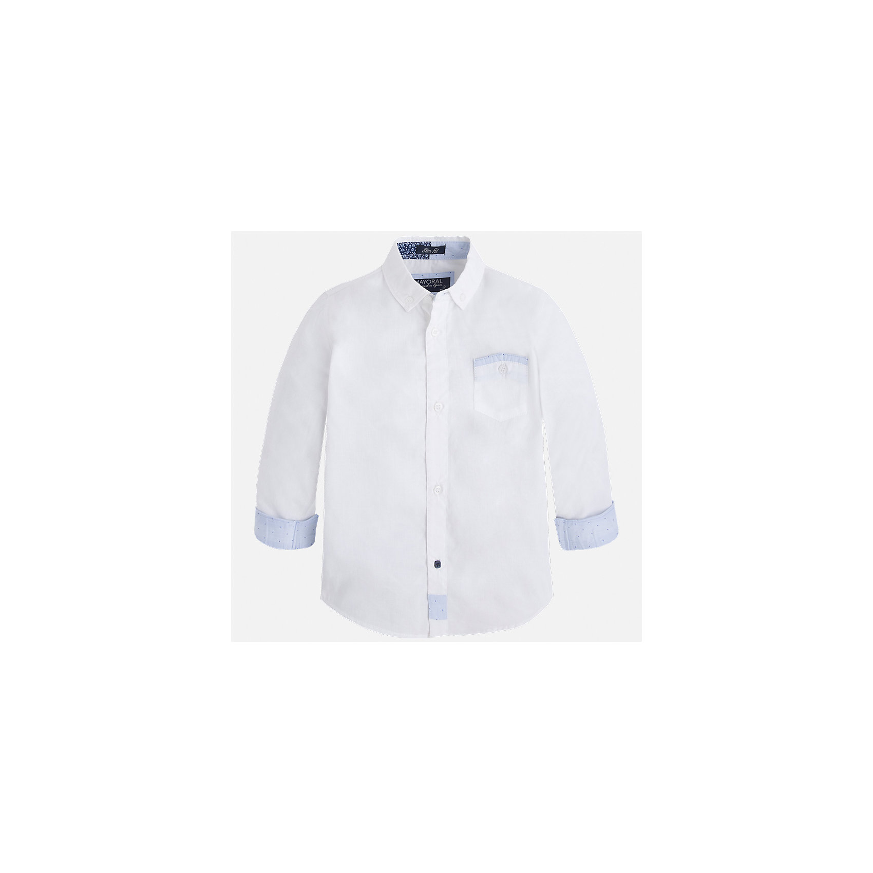 Рубашка для мальчика MayoralБлузки и рубашки<br>Характеристики товара:<br><br>• цвет: белый<br>• состав: 100% хлопок<br>• отложной воротник<br>• рукава с отворотами<br>• застежка: пуговицы<br>• карман на груди<br>• страна бренда: Испания<br><br>Удобная модная рубашка-поло для мальчика может стать базовой вещью в гардеробе ребенка. Она отлично сочетается с брюками, шортами, джинсами и т.д. Универсальный крой и цвет позволяет подобрать к вещи низ разных расцветок. Практичное и стильное изделие! В составе материала - только натуральный хлопок, гипоаллергенный, приятный на ощупь, дышащий.<br><br>Одежда, обувь и аксессуары от испанского бренда Mayoral полюбились детям и взрослым по всему миру. Модели этой марки - стильные и удобные. Для их производства используются только безопасные, качественные материалы и фурнитура. Порадуйте ребенка модными и красивыми вещами от Mayoral! <br><br>Рубашку-поло для мальчика от испанского бренда Mayoral (Майорал) можно купить в нашем интернет-магазине.<br><br>Ширина мм: 174<br>Глубина мм: 10<br>Высота мм: 169<br>Вес г: 157<br>Цвет: белый<br>Возраст от месяцев: 24<br>Возраст до месяцев: 36<br>Пол: Мужской<br>Возраст: Детский<br>Размер: 98,128,92,104,110,134,122,116<br>SKU: 5272414