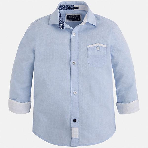 Рубашка для мальчика MayoralБлузки и рубашки<br>Характеристики товара:<br><br>• цвет: голубой<br>• состав: 100% хлопок<br>• отложной воротник<br>• рукава с отворотами<br>• застежка: пуговицы<br>• карман на груди<br>• страна бренда: Испания<br><br>Удобная модная рубашка-поло для мальчика может стать базовой вещью в гардеробе ребенка. Она отлично сочетается с брюками, шортами, джинсами и т.д. Универсальный крой и цвет позволяет подобрать к вещи низ разных расцветок. Практичное и стильное изделие! В составе материала - только натуральный хлопок, гипоаллергенный, приятный на ощупь, дышащий.<br><br>Одежда, обувь и аксессуары от испанского бренда Mayoral полюбились детям и взрослым по всему миру. Модели этой марки - стильные и удобные. Для их производства используются только безопасные, качественные материалы и фурнитура. Порадуйте ребенка модными и красивыми вещами от Mayoral! <br><br>Рубашку-поло для мальчика от испанского бренда Mayoral (Майорал) можно купить в нашем интернет-магазине.<br><br>Ширина мм: 174<br>Глубина мм: 10<br>Высота мм: 169<br>Вес г: 157<br>Цвет: голубой<br>Возраст от месяцев: 24<br>Возраст до месяцев: 36<br>Пол: Мужской<br>Возраст: Детский<br>Размер: 98,92,104,116,122,128,134,110<br>SKU: 5272423