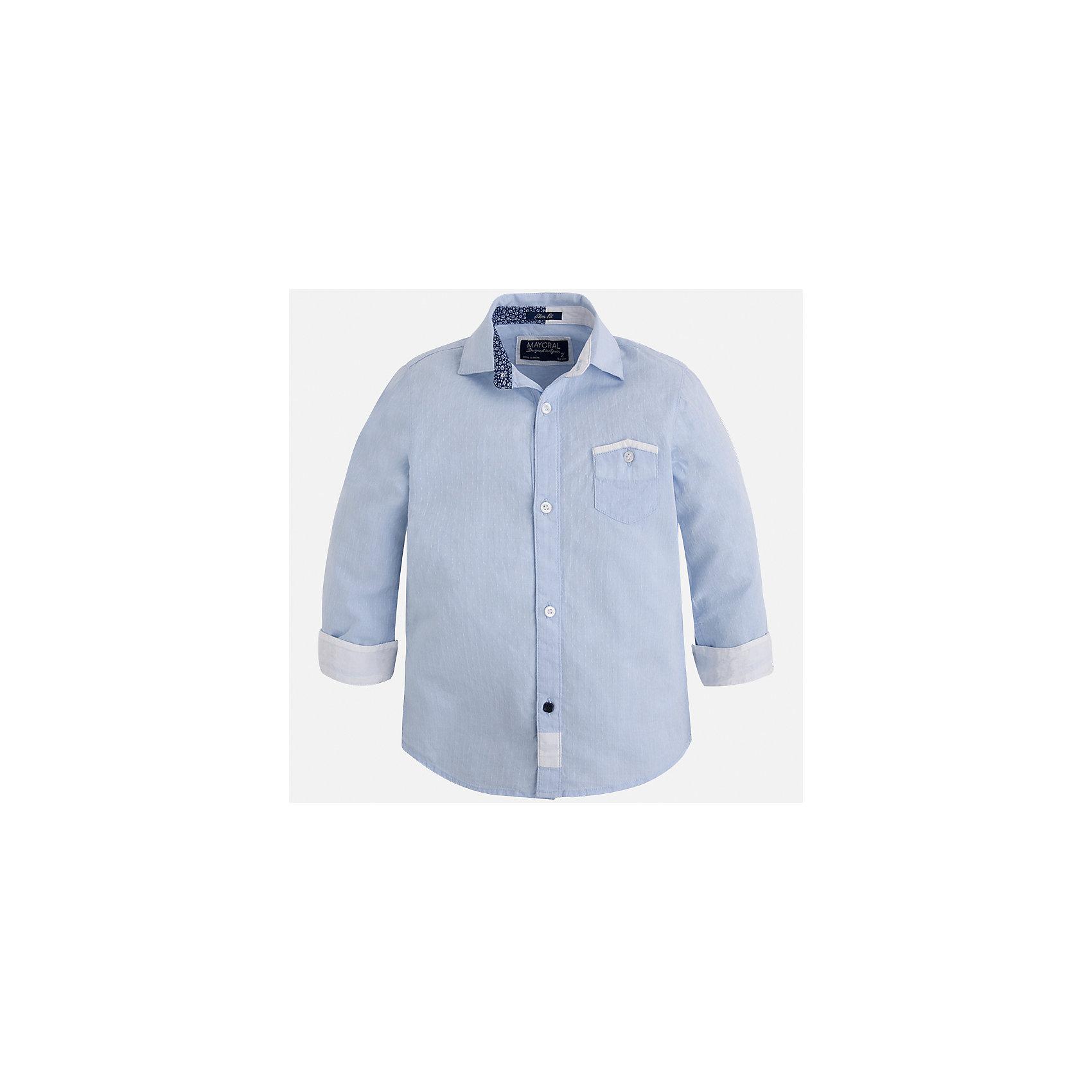 Рубашка для мальчика MayoralБлузки и рубашки<br>Характеристики товара:<br><br>• цвет: голубой<br>• состав: 100% хлопок<br>• отложной воротник<br>• рукава с отворотами<br>• застежка: пуговицы<br>• карман на груди<br>• страна бренда: Испания<br><br>Удобная модная рубашка-поло для мальчика может стать базовой вещью в гардеробе ребенка. Она отлично сочетается с брюками, шортами, джинсами и т.д. Универсальный крой и цвет позволяет подобрать к вещи низ разных расцветок. Практичное и стильное изделие! В составе материала - только натуральный хлопок, гипоаллергенный, приятный на ощупь, дышащий.<br><br>Одежда, обувь и аксессуары от испанского бренда Mayoral полюбились детям и взрослым по всему миру. Модели этой марки - стильные и удобные. Для их производства используются только безопасные, качественные материалы и фурнитура. Порадуйте ребенка модными и красивыми вещами от Mayoral! <br><br>Рубашку-поло для мальчика от испанского бренда Mayoral (Майорал) можно купить в нашем интернет-магазине.<br><br>Ширина мм: 174<br>Глубина мм: 10<br>Высота мм: 169<br>Вес г: 157<br>Цвет: голубой<br>Возраст от месяцев: 18<br>Возраст до месяцев: 24<br>Пол: Мужской<br>Возраст: Детский<br>Размер: 92,98,110,134,128,122,116,104<br>SKU: 5272423