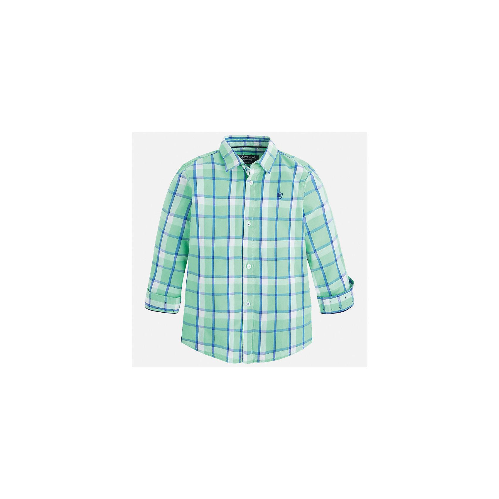 Рубашка для мальчика MayoralБлузки и рубашки<br>Характеристики товара:<br><br>• цвет: зеленый<br>• состав: 100% хлопок<br>• отложной воротник<br>• рукава с отворотами<br>• застежка: пуговицы<br>• вышивка на груди<br>• страна бренда: Испания<br><br>Удобная модная рубашка-поло для мальчика может стать базовой вещью в гардеробе ребенка. Она отлично сочетается с брюками, шортами, джинсами и т.д. Универсальный крой и цвет позволяет подобрать к вещи низ разных расцветок. Практичное и стильное изделие! В составе материала - только натуральный хлопок, гипоаллергенный, приятный на ощупь, дышащий.<br><br>Одежда, обувь и аксессуары от испанского бренда Mayoral полюбились детям и взрослым по всему миру. Модели этой марки - стильные и удобные. Для их производства используются только безопасные, качественные материалы и фурнитура. Порадуйте ребенка модными и красивыми вещами от Mayoral! <br><br>Рубашку-поло для мальчика от испанского бренда Mayoral (Майорал) можно купить в нашем интернет-магазине.<br><br>Ширина мм: 174<br>Глубина мм: 10<br>Высота мм: 169<br>Вес г: 157<br>Цвет: зеленый<br>Возраст от месяцев: 36<br>Возраст до месяцев: 48<br>Пол: Мужской<br>Возраст: Детский<br>Размер: 104,110,92,116,134,98,128,122<br>SKU: 5272432
