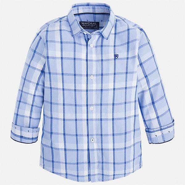 Рубашка для мальчика MayoralБлузки и рубашки<br>Характеристики товара:<br><br>• цвет: голубой<br>• состав: 100% хлопок<br>• отложной воротник<br>• рукава с отворотами<br>• застежка: пуговицы<br>• вышивка на груди<br>• страна бренда: Испания<br><br>Удобная модная рубашка-поло для мальчика может стать базовой вещью в гардеробе ребенка. Она отлично сочетается с брюками, шортами, джинсами и т.д. Универсальный крой и цвет позволяет подобрать к вещи низ разных расцветок. Практичное и стильное изделие! В составе материала - только натуральный хлопок, гипоаллергенный, приятный на ощупь, дышащий.<br><br>Одежда, обувь и аксессуары от испанского бренда Mayoral полюбились детям и взрослым по всему миру. Модели этой марки - стильные и удобные. Для их производства используются только безопасные, качественные материалы и фурнитура. Порадуйте ребенка модными и красивыми вещами от Mayoral! <br><br>Рубашку-поло для мальчика от испанского бренда Mayoral (Майорал) можно купить в нашем интернет-магазине.<br>Ширина мм: 174; Глубина мм: 10; Высота мм: 169; Вес г: 157; Цвет: белый; Возраст от месяцев: 24; Возраст до месяцев: 36; Пол: Мужской; Возраст: Детский; Размер: 98,104,110,122,128,134,116,92; SKU: 5272441;