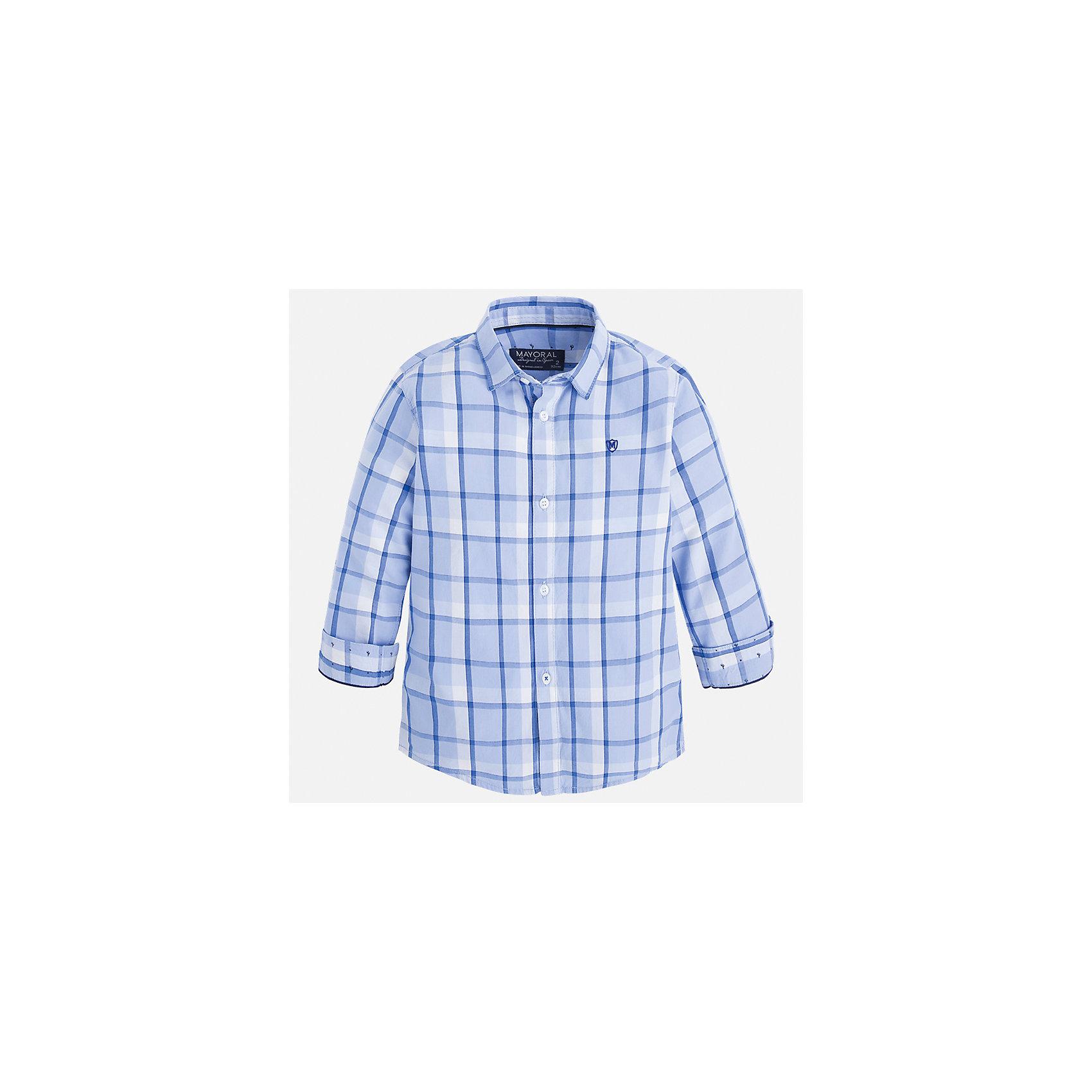 Рубашка для мальчика MayoralБлузки и рубашки<br>Характеристики товара:<br><br>• цвет: голубой<br>• состав: 100% хлопок<br>• отложной воротник<br>• рукава с отворотами<br>• застежка: пуговицы<br>• вышивка на груди<br>• страна бренда: Испания<br><br>Удобная модная рубашка-поло для мальчика может стать базовой вещью в гардеробе ребенка. Она отлично сочетается с брюками, шортами, джинсами и т.д. Универсальный крой и цвет позволяет подобрать к вещи низ разных расцветок. Практичное и стильное изделие! В составе материала - только натуральный хлопок, гипоаллергенный, приятный на ощупь, дышащий.<br><br>Одежда, обувь и аксессуары от испанского бренда Mayoral полюбились детям и взрослым по всему миру. Модели этой марки - стильные и удобные. Для их производства используются только безопасные, качественные материалы и фурнитура. Порадуйте ребенка модными и красивыми вещами от Mayoral! <br><br>Рубашку-поло для мальчика от испанского бренда Mayoral (Майорал) можно купить в нашем интернет-магазине.<br><br>Ширина мм: 174<br>Глубина мм: 10<br>Высота мм: 169<br>Вес г: 157<br>Цвет: белый<br>Возраст от месяцев: 60<br>Возраст до месяцев: 72<br>Пол: Мужской<br>Возраст: Детский<br>Размер: 116,134,128,122,110,104,98,92<br>SKU: 5272441