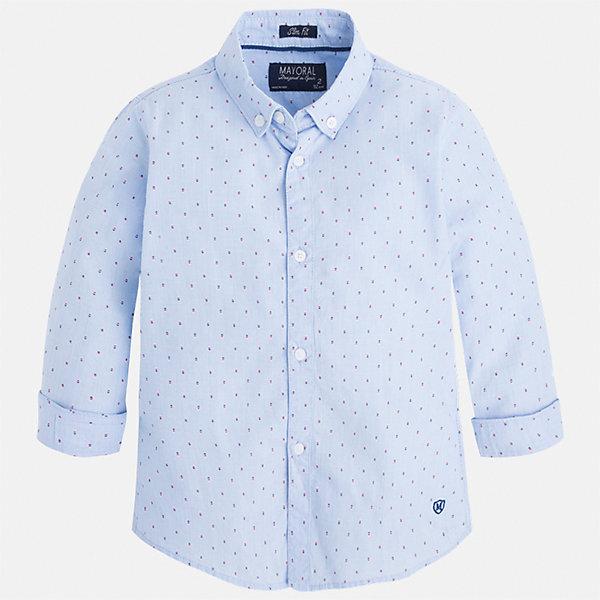Рубашка для мальчика MayoralБлузки и рубашки<br>Характеристики товара:<br><br>• цвет: голубой<br>• состав: 100% хлопок<br>• отложной воротник<br>• рукава с отворотами<br>• застежка: пуговицы<br>• вышивка<br>• страна бренда: Испания<br><br>Стильная рубашка-поло для мальчика может стать базовой вещью в гардеробе ребенка. Она отлично сочетается с брюками, шортами, джинсами и т.д. Универсальный крой и цвет позволяет подобрать к вещи низ разных расцветок. Практичное и стильное изделие! В составе материала - только натуральный хлопок, гипоаллергенный, приятный на ощупь, дышащий.<br><br>Одежда, обувь и аксессуары от испанского бренда Mayoral полюбились детям и взрослым по всему миру. Модели этой марки - стильные и удобные. Для их производства используются только безопасные, качественные материалы и фурнитура. Порадуйте ребенка модными и красивыми вещами от Mayoral! <br><br>Рубашку-поло для мальчика от испанского бренда Mayoral (Майорал) можно купить в нашем интернет-магазине.<br><br>Ширина мм: 174<br>Глубина мм: 10<br>Высота мм: 169<br>Вес г: 157<br>Цвет: голубой<br>Возраст от месяцев: 48<br>Возраст до месяцев: 60<br>Пол: Мужской<br>Возраст: Детский<br>Размер: 110,116,134,128,122,98,92,104<br>SKU: 5272450