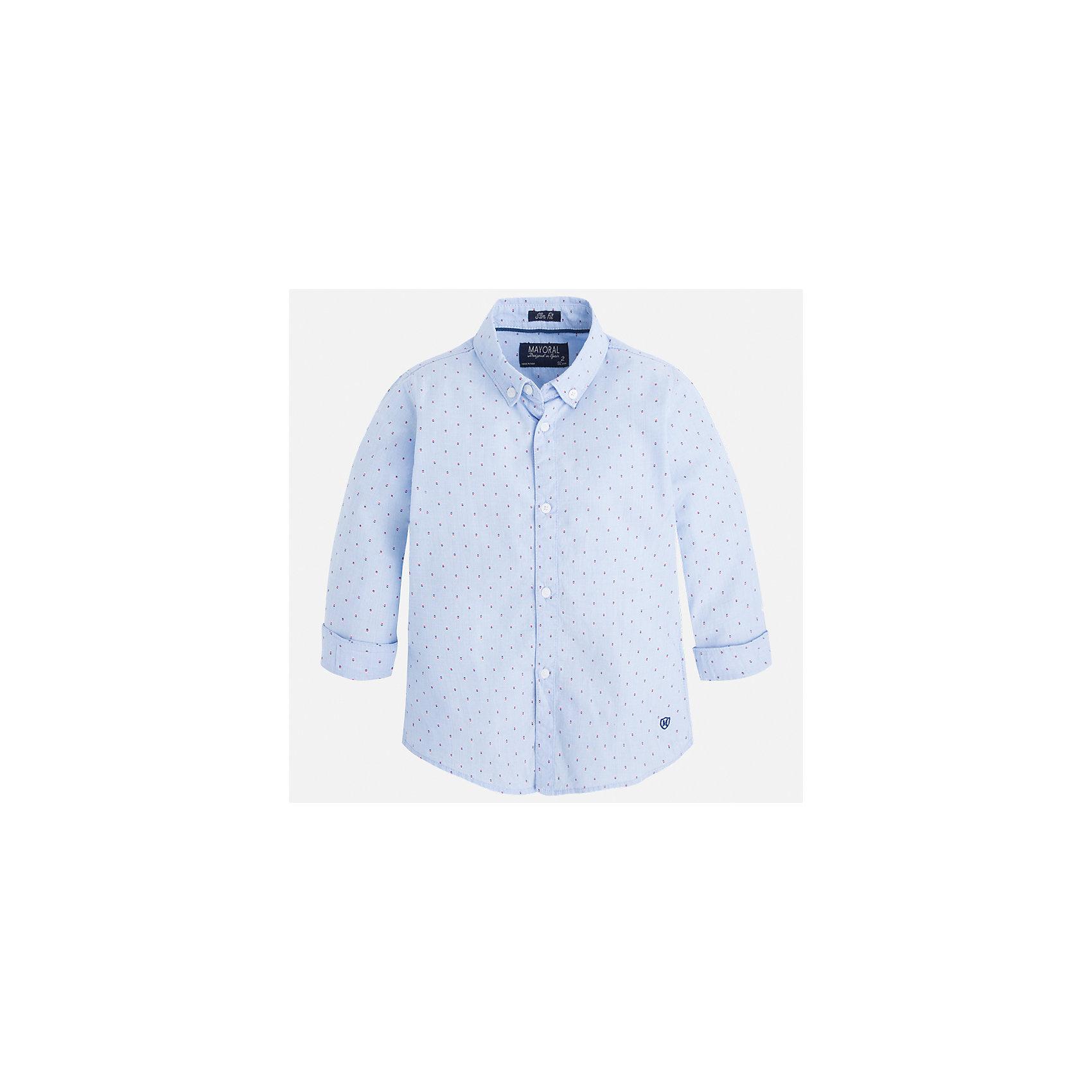 Рубашка для мальчика MayoralБлузки и рубашки<br>Характеристики товара:<br><br>• цвет: голубой<br>• состав: 100% хлопок<br>• отложной воротник<br>• рукава с отворотами<br>• застежка: пуговицы<br>• вышивка<br>• страна бренда: Испания<br><br>Стильная рубашка-поло для мальчика может стать базовой вещью в гардеробе ребенка. Она отлично сочетается с брюками, шортами, джинсами и т.д. Универсальный крой и цвет позволяет подобрать к вещи низ разных расцветок. Практичное и стильное изделие! В составе материала - только натуральный хлопок, гипоаллергенный, приятный на ощупь, дышащий.<br><br>Одежда, обувь и аксессуары от испанского бренда Mayoral полюбились детям и взрослым по всему миру. Модели этой марки - стильные и удобные. Для их производства используются только безопасные, качественные материалы и фурнитура. Порадуйте ребенка модными и красивыми вещами от Mayoral! <br><br>Рубашку-поло для мальчика от испанского бренда Mayoral (Майорал) можно купить в нашем интернет-магазине.<br><br>Ширина мм: 174<br>Глубина мм: 10<br>Высота мм: 169<br>Вес г: 157<br>Цвет: голубой<br>Возраст от месяцев: 60<br>Возраст до месяцев: 72<br>Пол: Мужской<br>Возраст: Детский<br>Размер: 116,134,128,122,110,98,92,104<br>SKU: 5272450