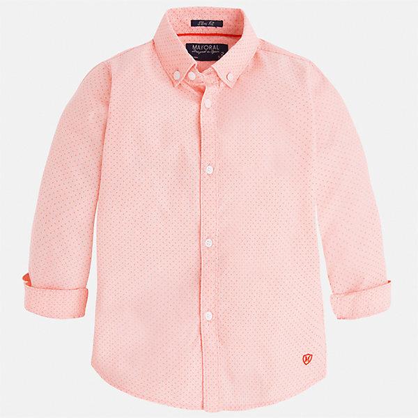 Рубашка для мальчика MayoralБлузки и рубашки<br>Характеристики товара:<br><br>• цвет: розовый<br>• состав: 100% хлопок<br>• отложной воротник<br>• рукава с отворотами<br>• застежка: пуговицы<br>• вышивка<br>• страна бренда: Испания<br><br>Стильная рубашка-поло для мальчика может стать базовой вещью в гардеробе ребенка. Она отлично сочетается с брюками, шортами, джинсами и т.д. Универсальный крой и цвет позволяет подобрать к вещи низ разных расцветок. Практичное и стильное изделие! В составе материала - только натуральный хлопок, гипоаллергенный, приятный на ощупь, дышащий.<br><br>Одежда, обувь и аксессуары от испанского бренда Mayoral полюбились детям и взрослым по всему миру. Модели этой марки - стильные и удобные. Для их производства используются только безопасные, качественные материалы и фурнитура. Порадуйте ребенка модными и красивыми вещами от Mayoral! <br><br>Рубашку-поло для мальчика от испанского бренда Mayoral (Майорал) можно купить в нашем интернет-магазине.<br><br>Ширина мм: 174<br>Глубина мм: 10<br>Высота мм: 169<br>Вес г: 157<br>Цвет: розовый<br>Возраст от месяцев: 36<br>Возраст до месяцев: 48<br>Пол: Мужской<br>Возраст: Детский<br>Размер: 104,128,134,92,98,110,116,122<br>SKU: 5272459