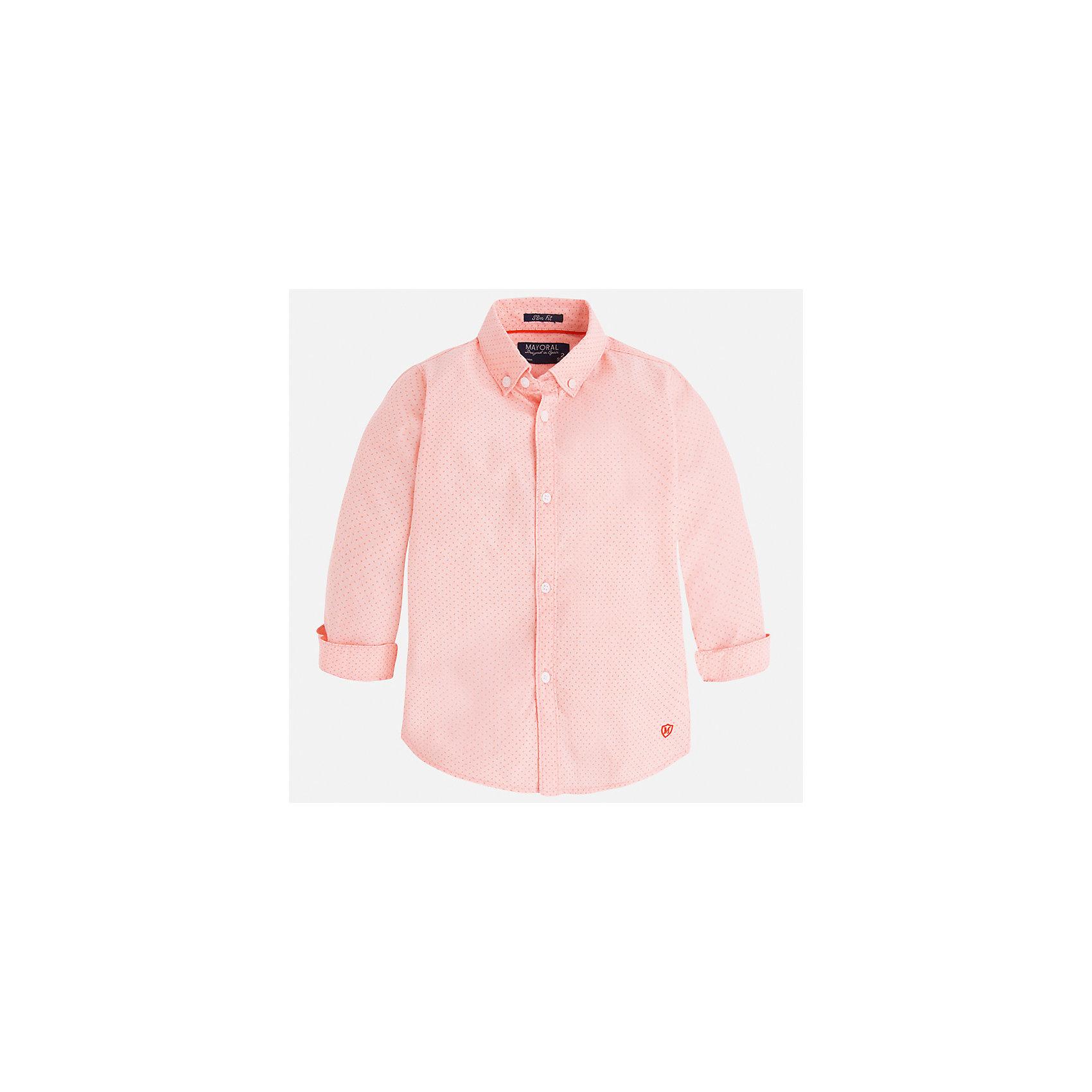 Рубашка для мальчика MayoralОдежда<br>Характеристики товара:<br><br>• цвет: розовый<br>• состав: 100% хлопок<br>• отложной воротник<br>• рукава с отворотами<br>• застежка: пуговицы<br>• вышивка<br>• страна бренда: Испания<br><br>Стильная рубашка-поло для мальчика может стать базовой вещью в гардеробе ребенка. Она отлично сочетается с брюками, шортами, джинсами и т.д. Универсальный крой и цвет позволяет подобрать к вещи низ разных расцветок. Практичное и стильное изделие! В составе материала - только натуральный хлопок, гипоаллергенный, приятный на ощупь, дышащий.<br><br>Одежда, обувь и аксессуары от испанского бренда Mayoral полюбились детям и взрослым по всему миру. Модели этой марки - стильные и удобные. Для их производства используются только безопасные, качественные материалы и фурнитура. Порадуйте ребенка модными и красивыми вещами от Mayoral! <br><br>Рубашку-поло для мальчика от испанского бренда Mayoral (Майорал) можно купить в нашем интернет-магазине.<br><br>Ширина мм: 174<br>Глубина мм: 10<br>Высота мм: 169<br>Вес г: 157<br>Цвет: розовый<br>Возраст от месяцев: 72<br>Возраст до месяцев: 84<br>Пол: Мужской<br>Возраст: Детский<br>Размер: 122,134,128,116,110,98,92,104<br>SKU: 5272459