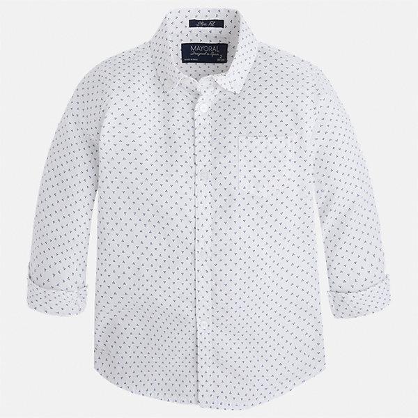 Рубашка для мальчика MayoralБлузки и рубашки<br>Характеристики товара:<br><br>• цвет: белый<br>• состав: 100% хлопок<br>• отложной воротник<br>• рукава с отворотами<br>• застежка: пуговицы<br>• карман на груди<br>• страна бренда: Испания<br><br>Удобная модная рубашка-поло для мальчика может стать базовой вещью в гардеробе ребенка. Она отлично сочетается с брюками, шортами, джинсами и т.д. Универсальный крой и цвет позволяет подобрать к вещи низ разных расцветок. Практичное и стильное изделие! В составе материала - только натуральный хлопок, гипоаллергенный, приятный на ощупь, дышащий.<br><br>Одежда, обувь и аксессуары от испанского бренда Mayoral полюбились детям и взрослым по всему миру. Модели этой марки - стильные и удобные. Для их производства используются только безопасные, качественные материалы и фурнитура. Порадуйте ребенка модными и красивыми вещами от Mayoral! <br><br>Рубашку-поло для мальчика от испанского бренда Mayoral (Майорал) можно купить в нашем интернет-магазине.<br>Ширина мм: 174; Глубина мм: 10; Высота мм: 169; Вес г: 157; Цвет: белый; Возраст от месяцев: 18; Возраст до месяцев: 24; Пол: Мужской; Возраст: Детский; Размер: 92,104,116,122,134,110,128,98; SKU: 5272468;