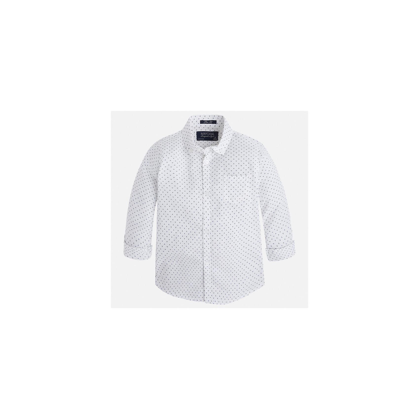 Рубашка для мальчика MayoralБлузки и рубашки<br>Характеристики товара:<br><br>• цвет: белый<br>• состав: 100% хлопок<br>• отложной воротник<br>• рукава с отворотами<br>• застежка: пуговицы<br>• карман на груди<br>• страна бренда: Испания<br><br>Удобная модная рубашка-поло для мальчика может стать базовой вещью в гардеробе ребенка. Она отлично сочетается с брюками, шортами, джинсами и т.д. Универсальный крой и цвет позволяет подобрать к вещи низ разных расцветок. Практичное и стильное изделие! В составе материала - только натуральный хлопок, гипоаллергенный, приятный на ощупь, дышащий.<br><br>Одежда, обувь и аксессуары от испанского бренда Mayoral полюбились детям и взрослым по всему миру. Модели этой марки - стильные и удобные. Для их производства используются только безопасные, качественные материалы и фурнитура. Порадуйте ребенка модными и красивыми вещами от Mayoral! <br><br>Рубашку-поло для мальчика от испанского бренда Mayoral (Майорал) можно купить в нашем интернет-магазине.<br><br>Ширина мм: 174<br>Глубина мм: 10<br>Высота мм: 169<br>Вес г: 157<br>Цвет: белый<br>Возраст от месяцев: 36<br>Возраст до месяцев: 48<br>Пол: Мужской<br>Возраст: Детский<br>Размер: 104,122,116,98,128,92,110,134<br>SKU: 5272468