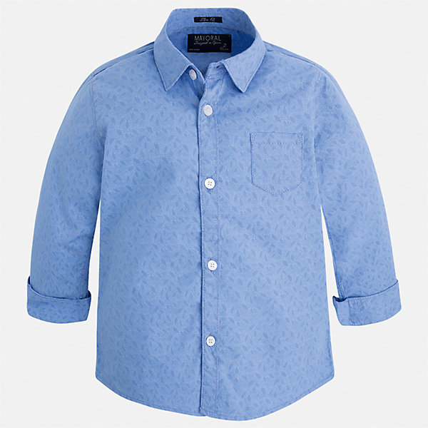 Рубашка для мальчика MayoralБлузки и рубашки<br>Характеристики товара:<br><br>• цвет: голубой<br>• состав: 100% хлопок<br>• отложной воротник<br>• рукава с отворотами<br>• застежка: пуговицы<br>• карман на груди<br>• страна бренда: Испания<br><br>Удобная модная рубашка-поло для мальчика может стать базовой вещью в гардеробе ребенка. Она отлично сочетается с брюками, шортами, джинсами и т.д. Универсальный крой и цвет позволяет подобрать к вещи низ разных расцветок. Практичное и стильное изделие! В составе материала - только натуральный хлопок, гипоаллергенный, приятный на ощупь, дышащий.<br><br>Одежда, обувь и аксессуары от испанского бренда Mayoral полюбились детям и взрослым по всему миру. Модели этой марки - стильные и удобные. Для их производства используются только безопасные, качественные материалы и фурнитура. Порадуйте ребенка модными и красивыми вещами от Mayoral! <br><br>Рубашку-поло для мальчика от испанского бренда Mayoral (Майорал) можно купить в нашем интернет-магазине.<br><br>Ширина мм: 174<br>Глубина мм: 10<br>Высота мм: 169<br>Вес г: 157<br>Цвет: голубой<br>Возраст от месяцев: 36<br>Возраст до месяцев: 48<br>Пол: Мужской<br>Возраст: Детский<br>Размер: 92,104,98,128,134,110,122,116<br>SKU: 5272477