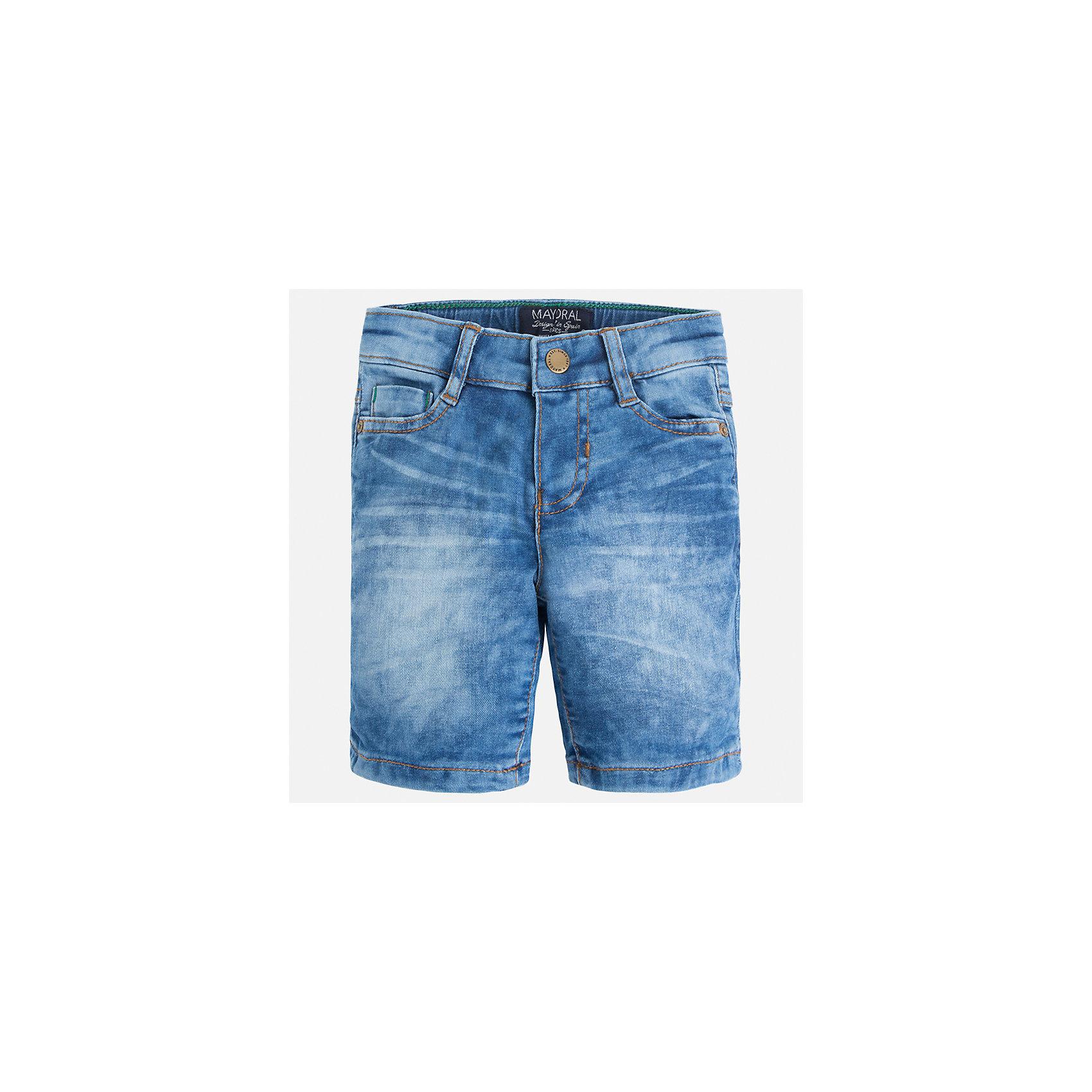 Бриджи джинсовые для мальчика MayoralШорты, бриджи, капри<br>Характеристики товара:<br><br>• цвет: синий<br>• состав: 97% хлопок, 3% эластан<br>• шлевки<br>• карманы<br>• пояс с регулировкой объема<br>• имитация потертости<br>• страна бренда: Испания<br><br>Модные бриджи для мальчика смогут стать базовой вещью в гардеробе ребенка. Они отлично сочетаются с майками, футболками, рубашками и т.д. Универсальный крой и цвет позволяет подобрать к вещи верх разных расцветок. Практичное и стильное изделие! В составе материала - натуральный хлопок, гипоаллергенный, приятный на ощупь, дышащий.<br><br>Одежда, обувь и аксессуары от испанского бренда Mayoral полюбились детям и взрослым по всему миру. Модели этой марки - стильные и удобные. Для их производства используются только безопасные, качественные материалы и фурнитура. Порадуйте ребенка модными и красивыми вещами от Mayoral! <br><br>Бриджи для мальчика от испанского бренда Mayoral (Майорал) можно купить в нашем интернет-магазине.<br><br>Ширина мм: 191<br>Глубина мм: 10<br>Высота мм: 175<br>Вес г: 273<br>Цвет: синий<br>Возраст от месяцев: 18<br>Возраст до месяцев: 24<br>Пол: Мужской<br>Возраст: Детский<br>Размер: 92,122,110,134,128,116,104,98<br>SKU: 5272594
