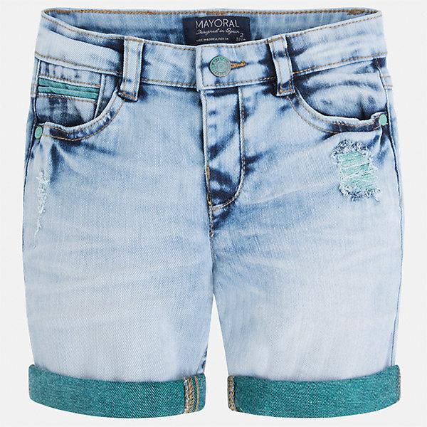 Бриджи джинсовые для мальчика MayoralШорты, бриджи, капри<br>Характеристики товара:<br><br>• цвет: голубой<br>• состав: 99% хлопок, 1% эластан<br>• шлевки<br>• карманы<br>• пояс с регулировкой объема<br>• имитация потертости<br>• страна бренда: Испания<br><br>Модные бриджи для мальчика смогут стать базовой вещью в гардеробе ребенка. Они отлично сочетаются с майками, футболками, рубашками и т.д. Универсальный крой и цвет позволяет подобрать к вещи верх разных расцветок. Практичное и стильное изделие! В составе материала - натуральный хлопок, гипоаллергенный, приятный на ощупь, дышащий.<br><br>Одежда, обувь и аксессуары от испанского бренда Mayoral полюбились детям и взрослым по всему миру. Модели этой марки - стильные и удобные. Для их производства используются только безопасные, качественные материалы и фурнитура. Порадуйте ребенка модными и красивыми вещами от Mayoral! <br><br>Бриджи для мальчика от испанского бренда Mayoral (Майорал) можно купить в нашем интернет-магазине.<br>Ширина мм: 191; Глубина мм: 10; Высота мм: 175; Вес г: 273; Цвет: голубой; Возраст от месяцев: 18; Возраст до месяцев: 24; Пол: Мужской; Возраст: Детский; Размер: 92,116,128,104,110,134,122,98; SKU: 5272630;