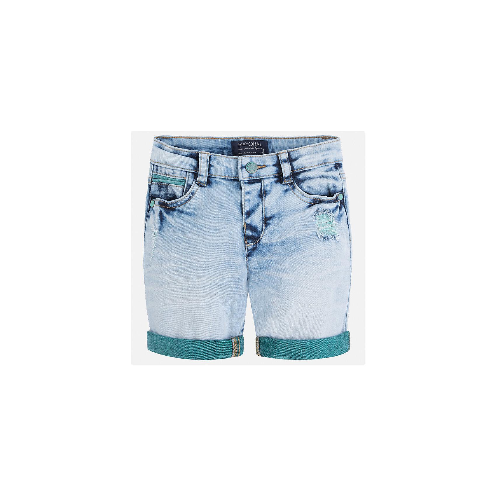 Бриджи джинсовые для мальчика MayoralШорты, бриджи, капри<br>Характеристики товара:<br><br>• цвет: голубой<br>• состав: 99% хлопок, 1% эластан<br>• шлевки<br>• карманы<br>• пояс с регулировкой объема<br>• имитация потертости<br>• страна бренда: Испания<br><br>Модные бриджи для мальчика смогут стать базовой вещью в гардеробе ребенка. Они отлично сочетаются с майками, футболками, рубашками и т.д. Универсальный крой и цвет позволяет подобрать к вещи верх разных расцветок. Практичное и стильное изделие! В составе материала - натуральный хлопок, гипоаллергенный, приятный на ощупь, дышащий.<br><br>Одежда, обувь и аксессуары от испанского бренда Mayoral полюбились детям и взрослым по всему миру. Модели этой марки - стильные и удобные. Для их производства используются только безопасные, качественные материалы и фурнитура. Порадуйте ребенка модными и красивыми вещами от Mayoral! <br><br>Бриджи для мальчика от испанского бренда Mayoral (Майорал) можно купить в нашем интернет-магазине.<br><br>Ширина мм: 191<br>Глубина мм: 10<br>Высота мм: 175<br>Вес г: 273<br>Цвет: голубой<br>Возраст от месяцев: 24<br>Возраст до месяцев: 36<br>Пол: Мужской<br>Возраст: Детский<br>Размер: 98,134,110,104,128,122,116,92<br>SKU: 5272630