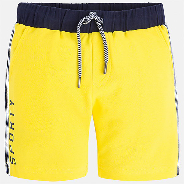 Бриджи для мальчика MayoralШорты, бриджи, капри<br>Характеристики товара:<br><br>• цвет: желтый<br>• состав: 95% хлопок, 5% эластан<br>• средняя длина<br>• принт<br>• пояс - резинка со шнурком<br>• мягкий материал<br>• страна бренда: Испания<br><br>Спортивные бриджи для мальчика помогут обеспечить ребенку комфорт. Они отлично сочетаются с майками, футболками, курточками в спортивном стиле. Универсальный крой и цвет позволяет подобрать к вещи верх разных расцветок. Практичное и стильное изделие! В составе материала - натуральный хлопок, гипоаллергенный, приятный на ощупь, дышащий.<br><br>Одежда, обувь и аксессуары от испанского бренда Mayoral полюбились детям и взрослым по всему миру. Модели этой марки - стильные и удобные. Для их производства используются только безопасные, качественные материалы и фурнитура. Порадуйте ребенка модными и красивыми вещами от Mayoral! <br><br>Бриджи для мальчика от испанского бренда Mayoral (Майорал) можно купить в нашем интернет-магазине.<br><br>Ширина мм: 191<br>Глубина мм: 10<br>Высота мм: 175<br>Вес г: 273<br>Цвет: желтый<br>Возраст от месяцев: 18<br>Возраст до месяцев: 24<br>Пол: Мужской<br>Возраст: Детский<br>Размер: 92,116,122,98,110,104<br>SKU: 5272736