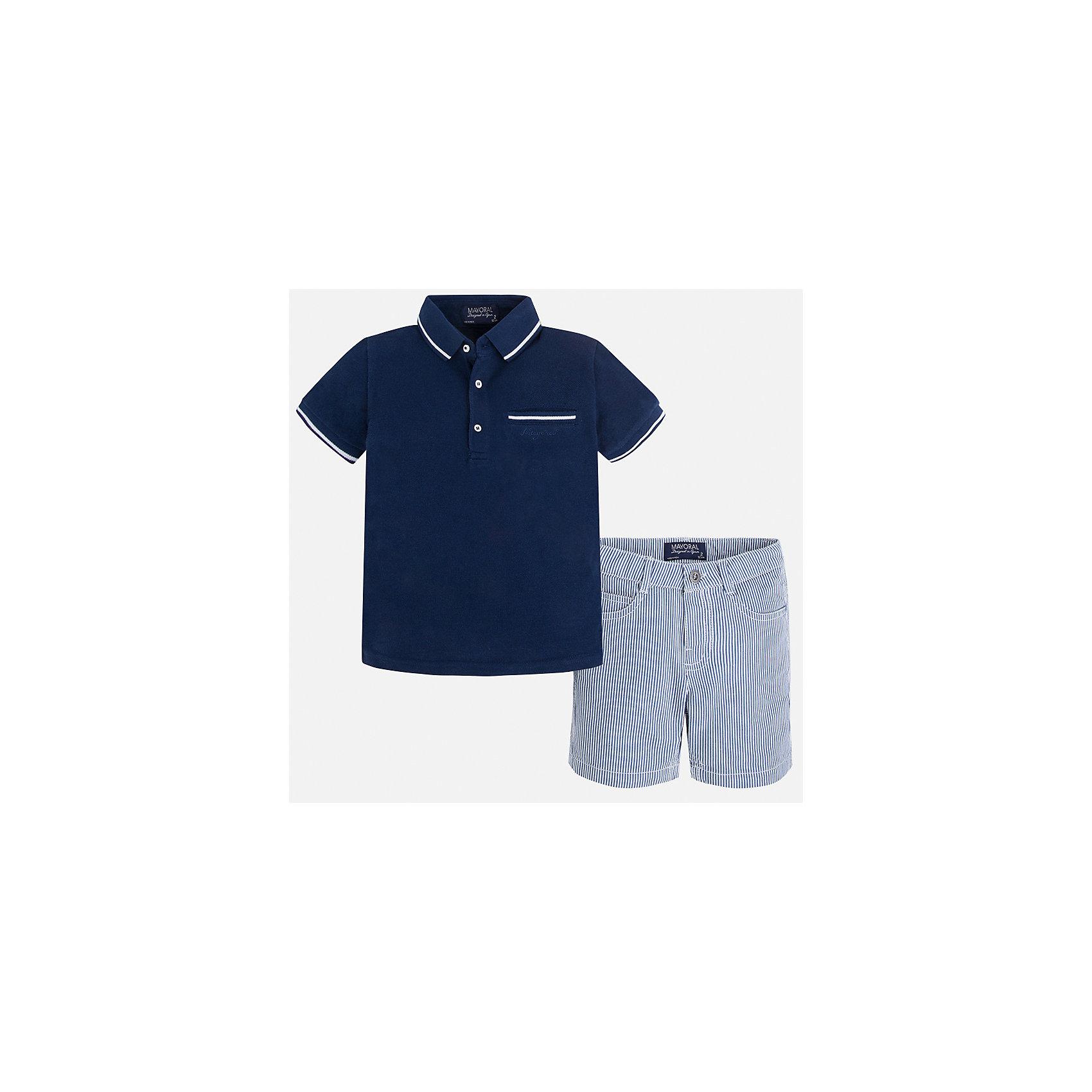 Комплект: футболка-поло и шорты для мальчика MayoralКомплекты<br>Характеристики товара:<br><br>• цвет: синий/голубой<br>• состав: 100% хлопок<br>• комплектация: футболка, шорты<br>• футболка-поло с карманом<br>• отложной воротник, короткие рукава<br>• шорты с карманами<br>• шлевки<br>• пояс регулируется<br>• страна бренда: Испания<br><br>Красивый качественный комплект для мальчика поможет разнообразить гардероб ребенка и удобно одеться в теплую погоду. Он отлично сочетается с другими предметами. Универсальный цвет позволяет подобрать к вещам верхнюю одежду практически любой расцветки. Интересная отделка модели делает её нарядной и оригинальной. В составе материала - только натуральный хлопок, гипоаллергенный, приятный на ощупь, дышащий.<br><br>Одежда, обувь и аксессуары от испанского бренда Mayoral полюбились детям и взрослым по всему миру. Модели этой марки - стильные и удобные. Для их производства используются только безопасные, качественные материалы и фурнитура. Порадуйте ребенка модными и красивыми вещами от Mayoral! <br><br>Комплект для мальчика от испанского бренда Mayoral (Майорал) можно купить в нашем интернет-магазине.<br><br>Ширина мм: 191<br>Глубина мм: 10<br>Высота мм: 175<br>Вес г: 273<br>Цвет: синий<br>Возраст от месяцев: 84<br>Возраст до месяцев: 96<br>Пол: Мужской<br>Возраст: Детский<br>Размер: 128,92,134,104,98,110,116,122<br>SKU: 5272756