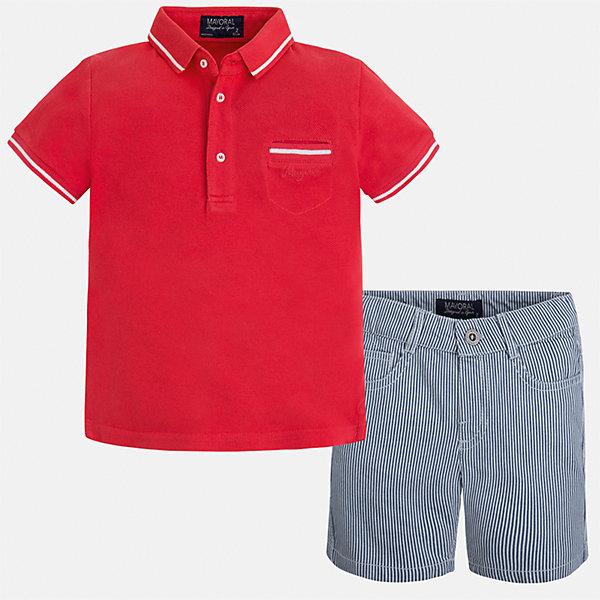 Комплект: Футболка-поло и шорты для мальчика MayoralКомплекты<br>Характеристики товара:<br><br>• цвет: красный/серый<br>• состав: 100% хлопок<br>• комплектация: футболка, шорты<br>• футболка-поло с карманом<br>• отложной воротник, короткие рукава<br>• шорты с карманами<br>• шлевки<br>• пояс регулируется<br>• страна бренда: Испания<br><br>Красивый качественный комплект для мальчика поможет разнообразить гардероб ребенка и удобно одеться в теплую погоду. Он отлично сочетается с другими предметами. Универсальный цвет позволяет подобрать к вещам верхнюю одежду практически любой расцветки. Интересная отделка модели делает её нарядной и оригинальной. В составе материала - только натуральный хлопок, гипоаллергенный, приятный на ощупь, дышащий.<br><br>Одежда, обувь и аксессуары от испанского бренда Mayoral полюбились детям и взрослым по всему миру. Модели этой марки - стильные и удобные. Для их производства используются только безопасные, качественные материалы и фурнитура. Порадуйте ребенка модными и красивыми вещами от Mayoral! <br><br>Комплект для мальчика от испанского бренда Mayoral (Майорал) можно купить в нашем интернет-магазине.<br>Ширина мм: 191; Глубина мм: 10; Высота мм: 175; Вес г: 273; Цвет: красный; Возраст от месяцев: 18; Возраст до месяцев: 24; Пол: Мужской; Возраст: Детский; Размер: 92,98,110,116,122,128,134,104; SKU: 5272765;